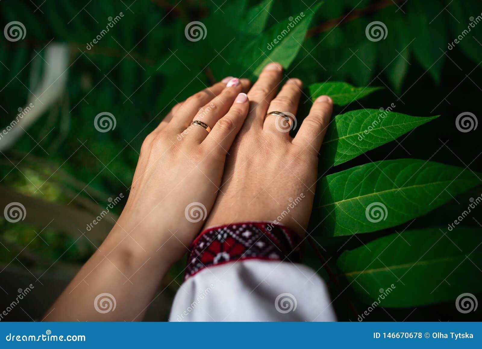 Dettagli di nozze - primo piano delle mani del neo-sposato di con gli anelli di oro su fondo verde