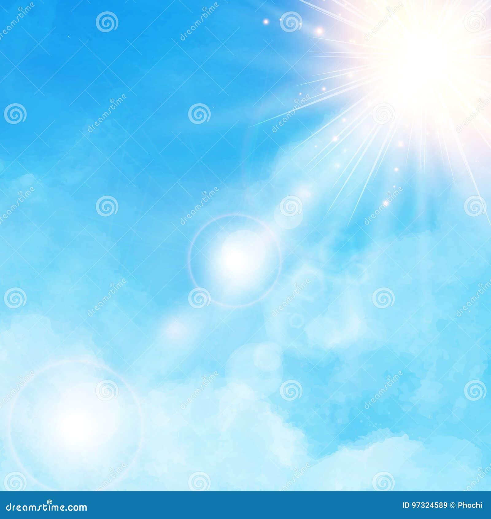 Dettaglio bianco della nuvola in cielo blu con il ill di luce del giorno del sole