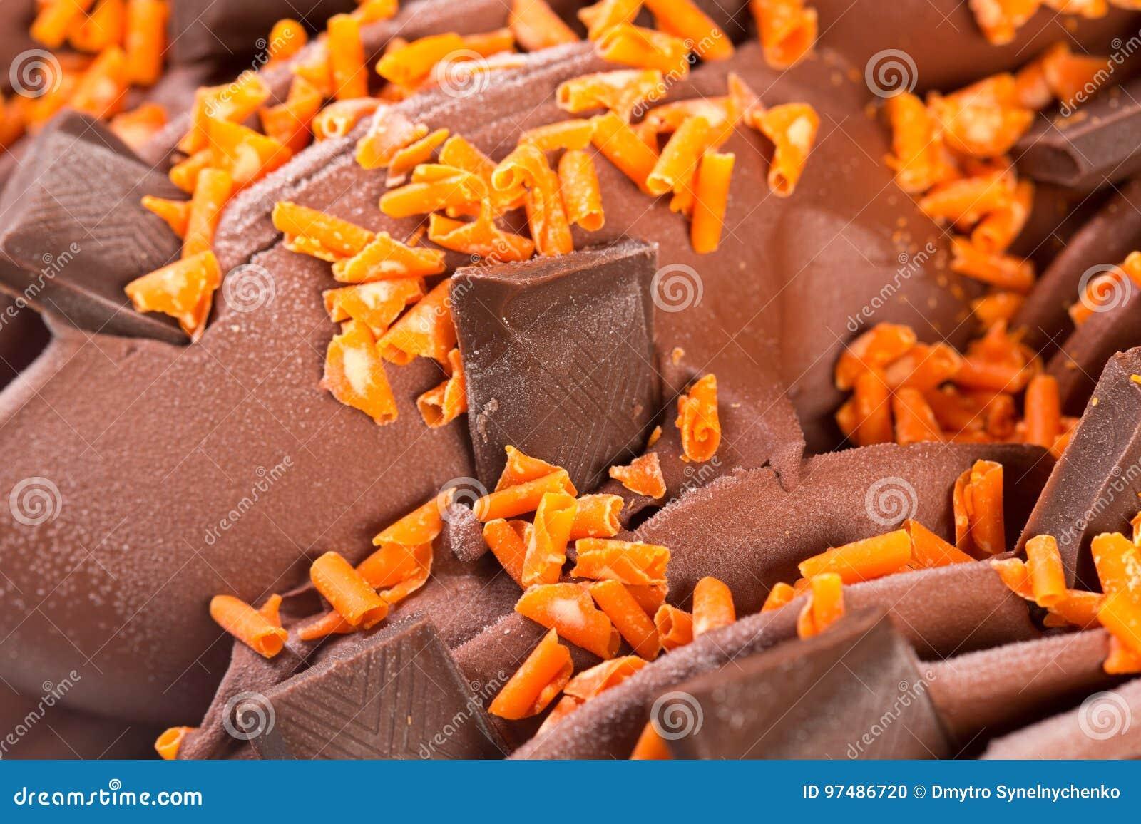 Dettaglio del gelato delle barre di cioccolato
