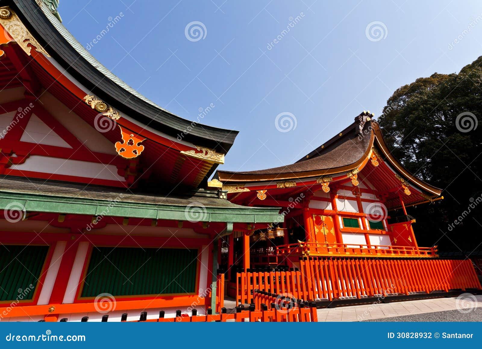 Dettaglio del tetto del santuario del giapponese