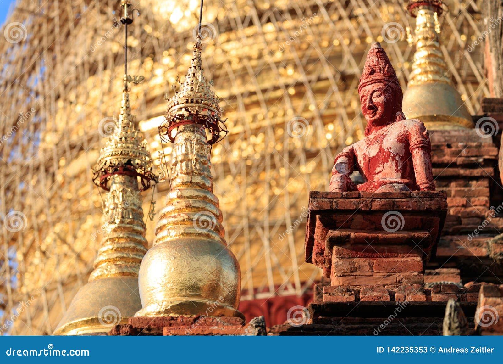 Dettaglio delle tempie antiche in Bagan, Myanmar (Birmania