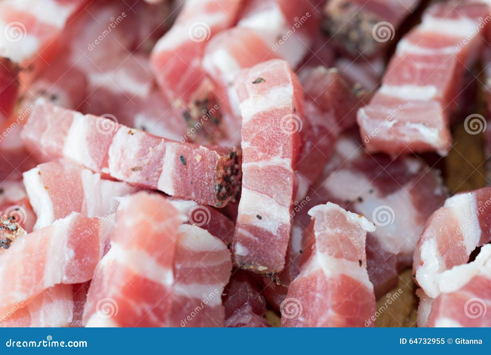 Dettaglio di bacon crudo