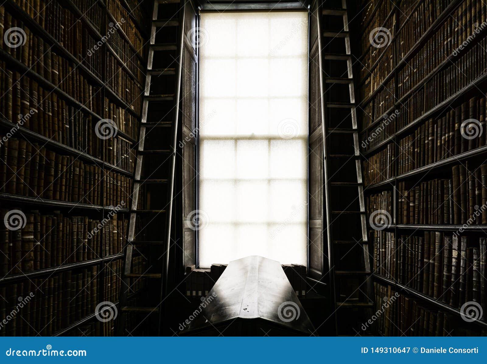 Dettaglio di vecchia biblioteca classica
