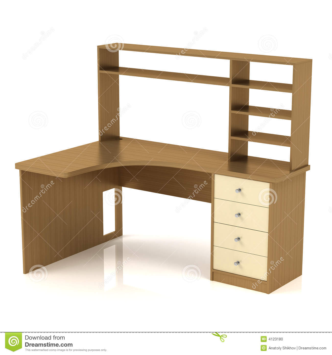 Dety Desk - worktable with a shelf and a drawer pedestal. 3D render.