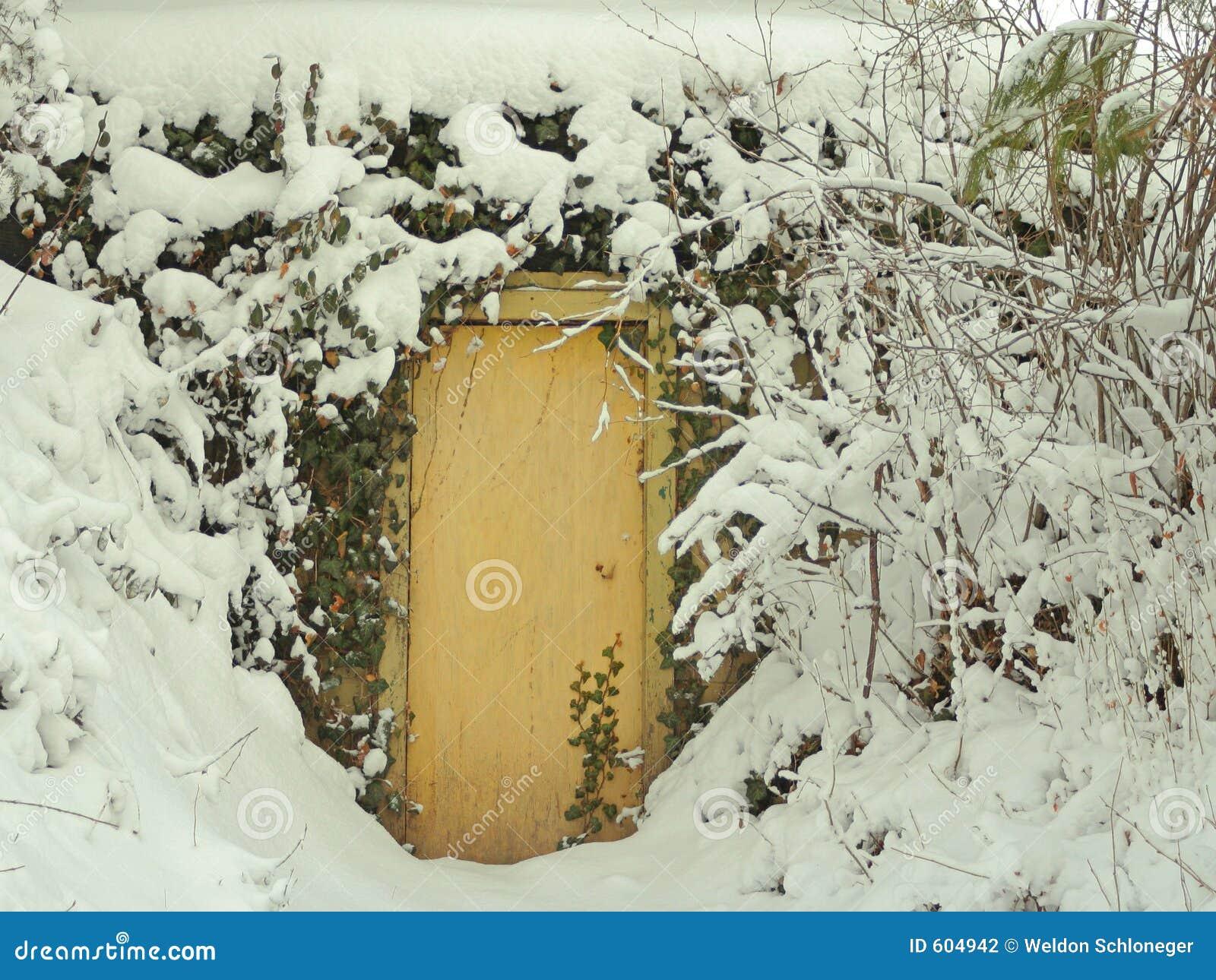 Deur in sneeuw