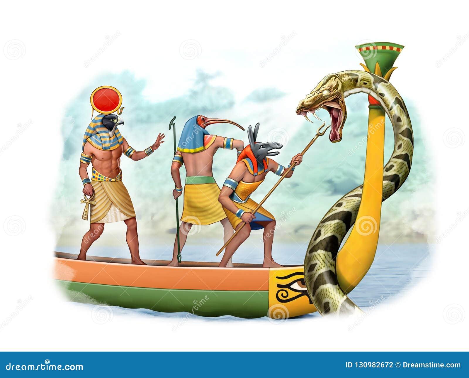 Deus de Egito antigo que luta uma serpente gigante
