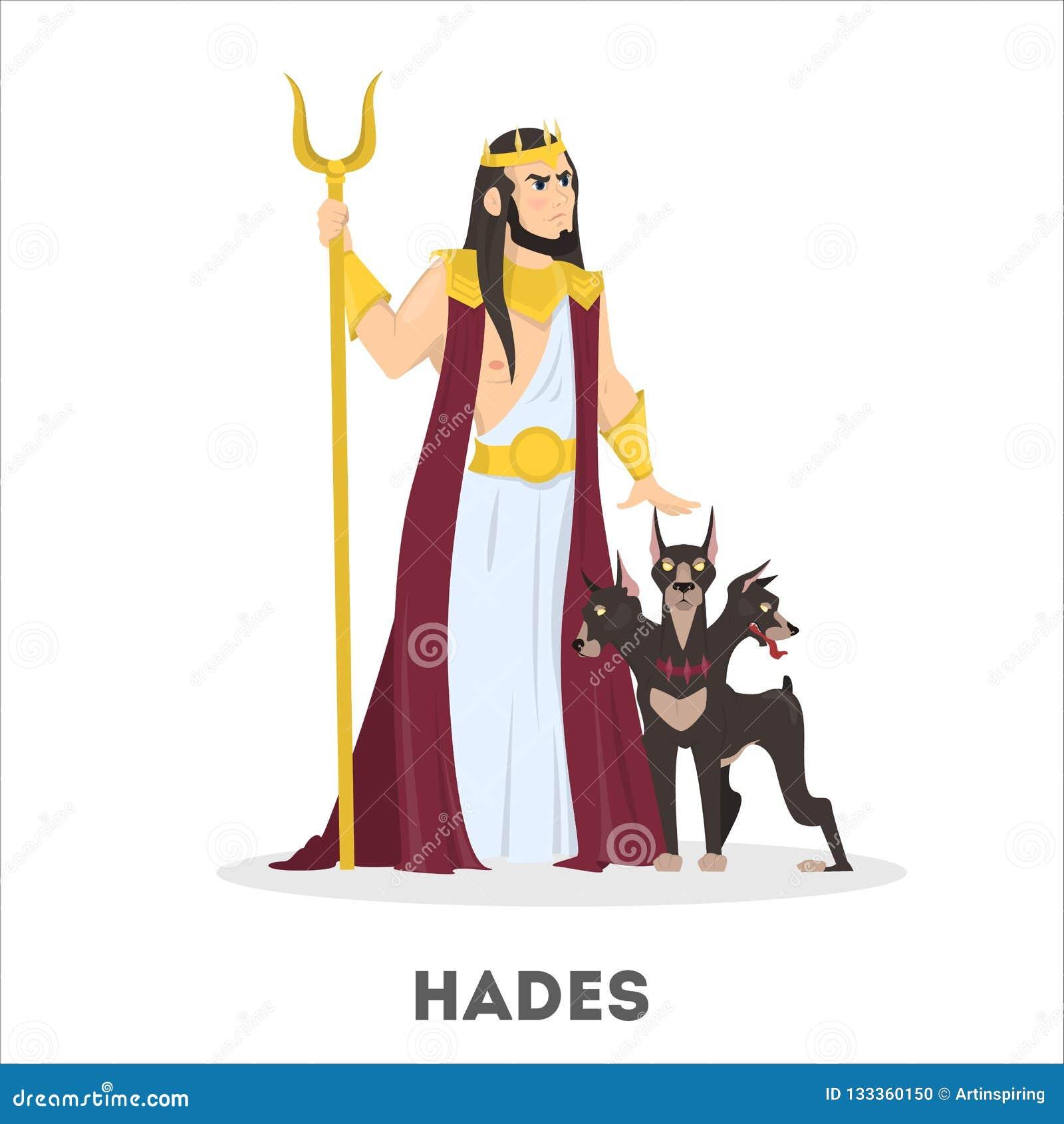 Deus Grego De Hades Com Cao Historia Antiga Ilustracao Do Vetor