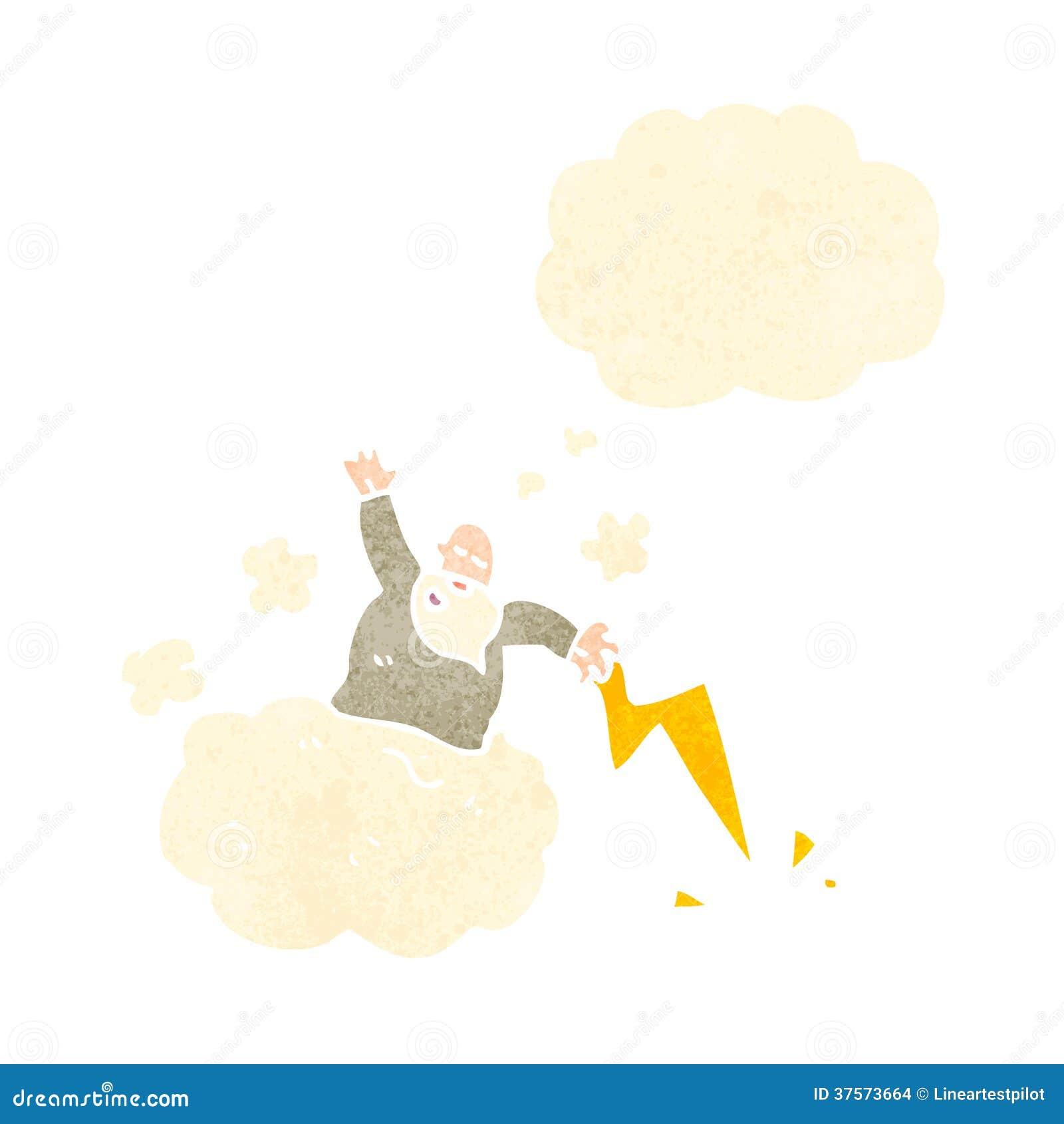 Deus Retro Dos Desenhos Animados Na Nuvem Ilustracao Do Vetor