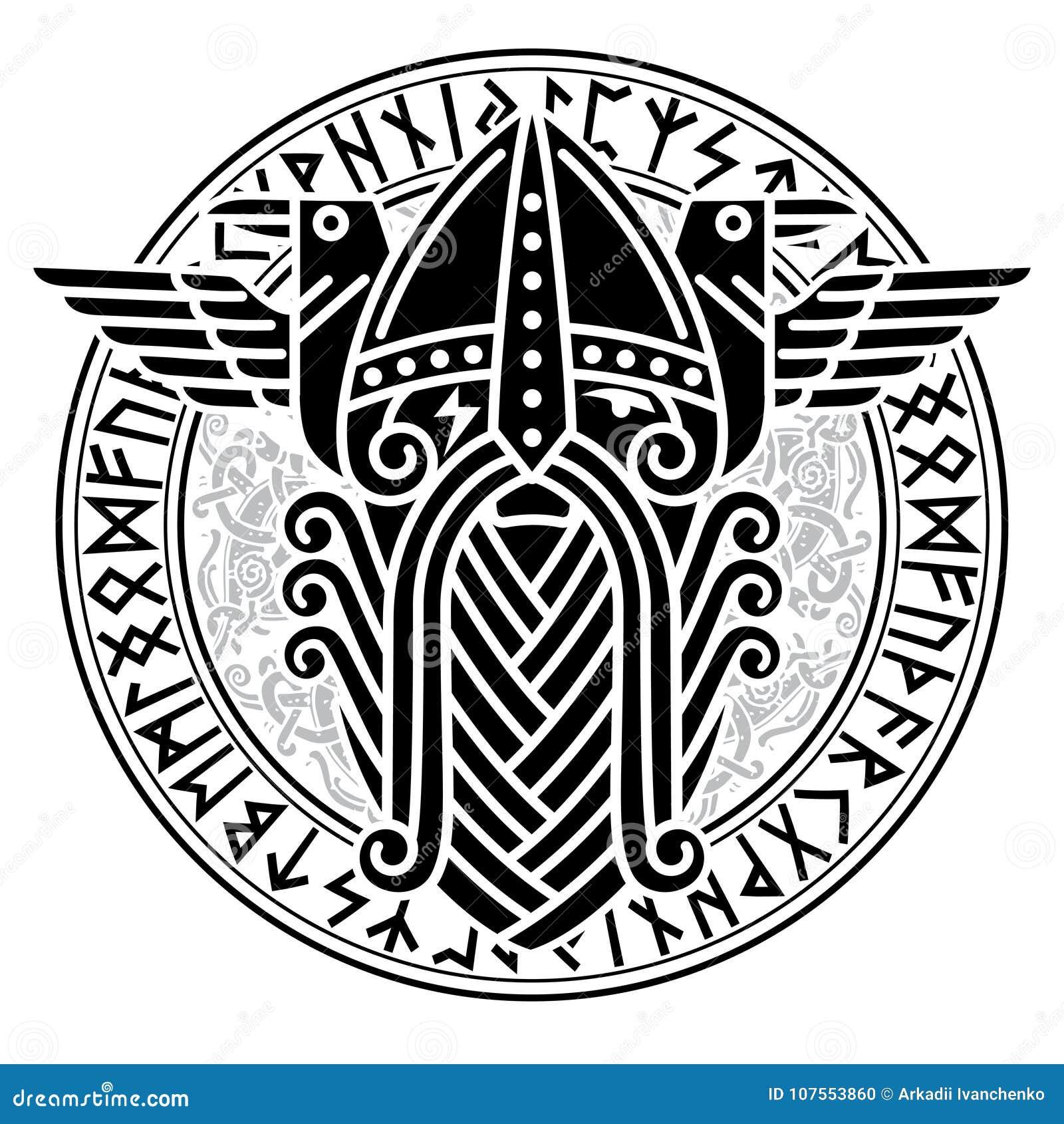Deus Wotan e dois corvos em um círculo de runas dos noruegueses Ilustração da mitologia de noruegueses