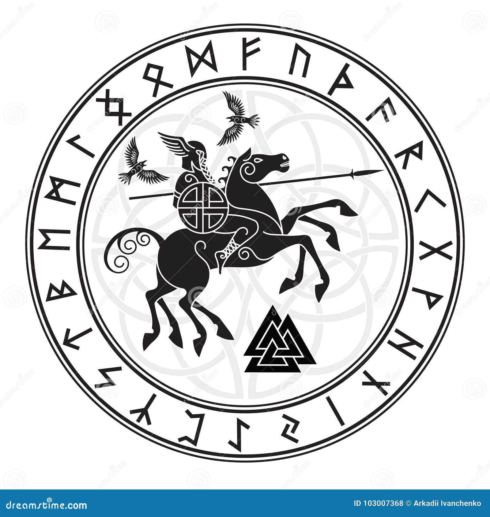 Deus Wotan, montando em um cavalo Sleipnir com uma lança e em dois corvos em um círculo de runas dos noruegueses Ilustração dos n