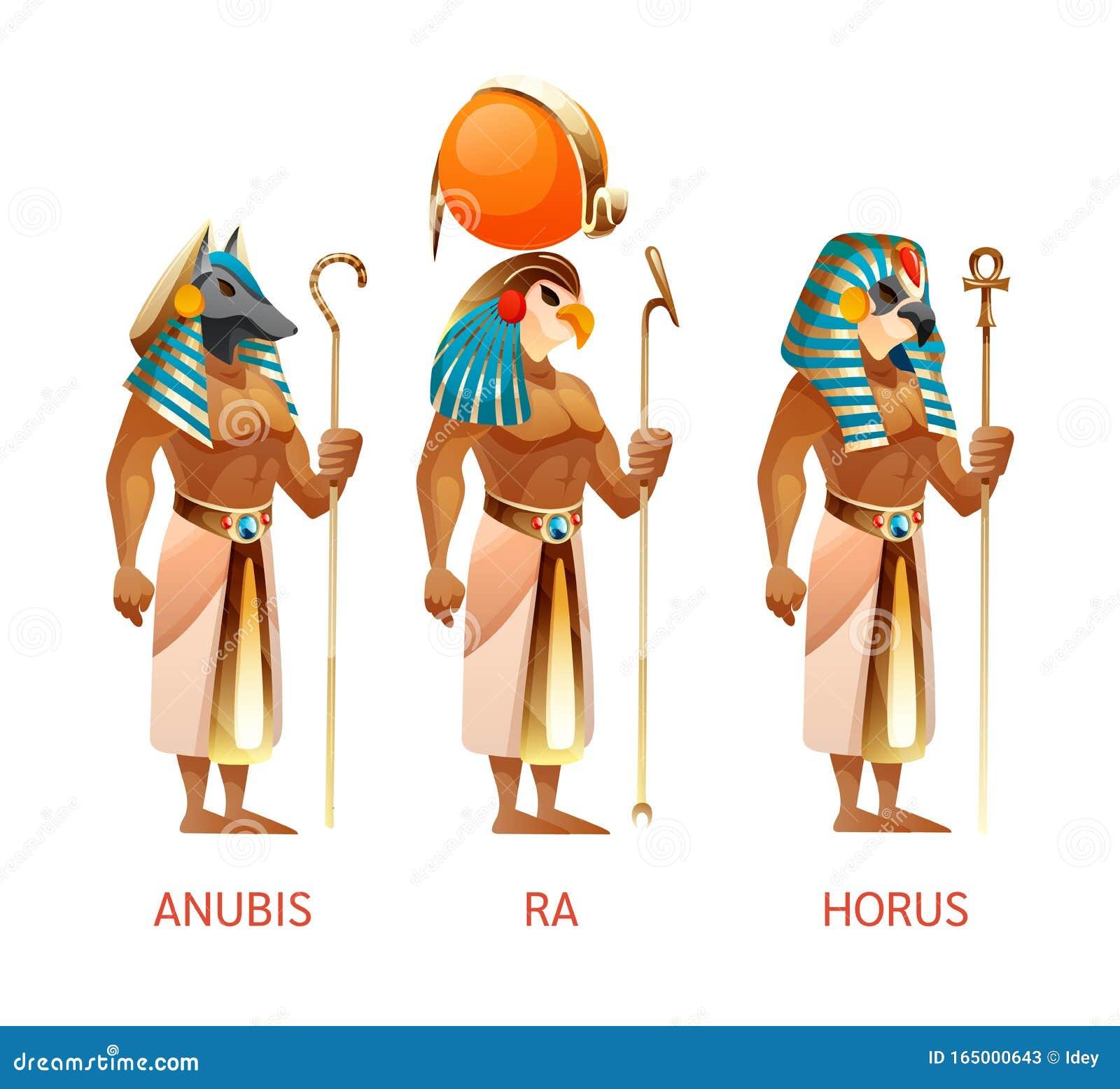 Deuses egípcios antigos Ra, Horus, Anubis da mitologia egípcia religião
