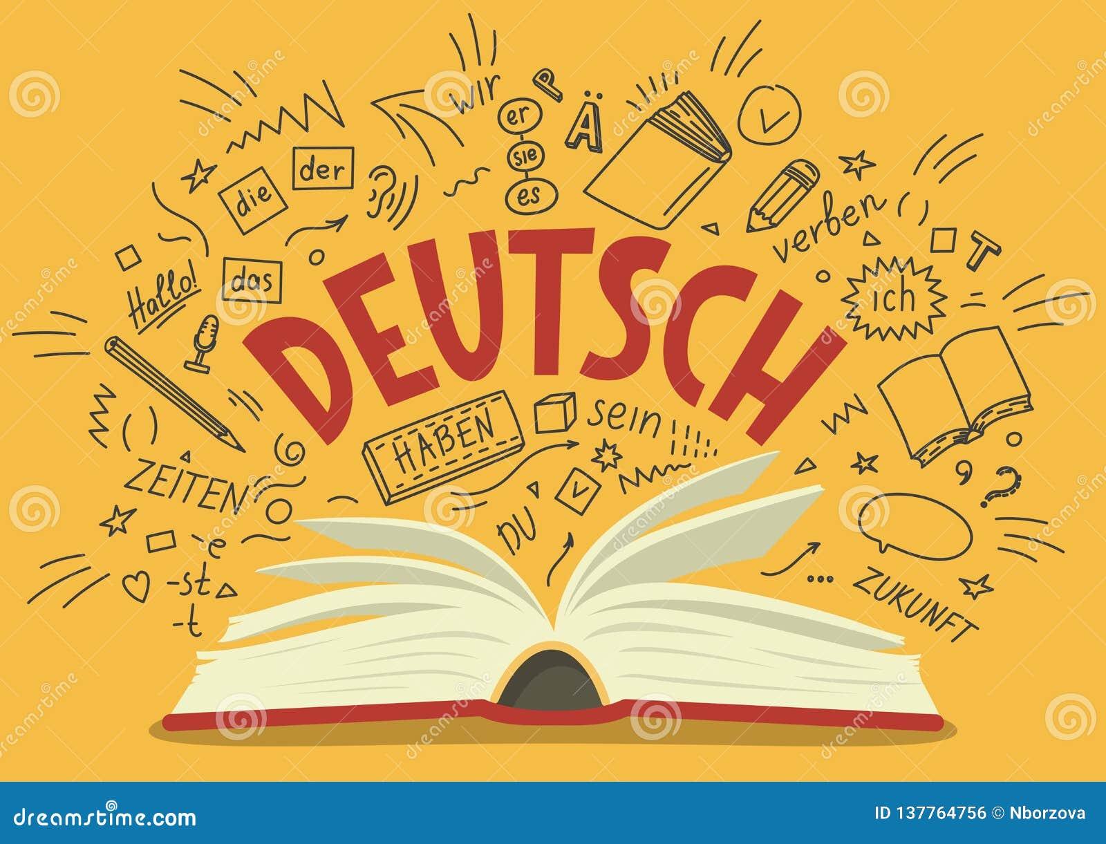 Deutsch. Translation `German`. German Language Hand Drawn Doodles ...