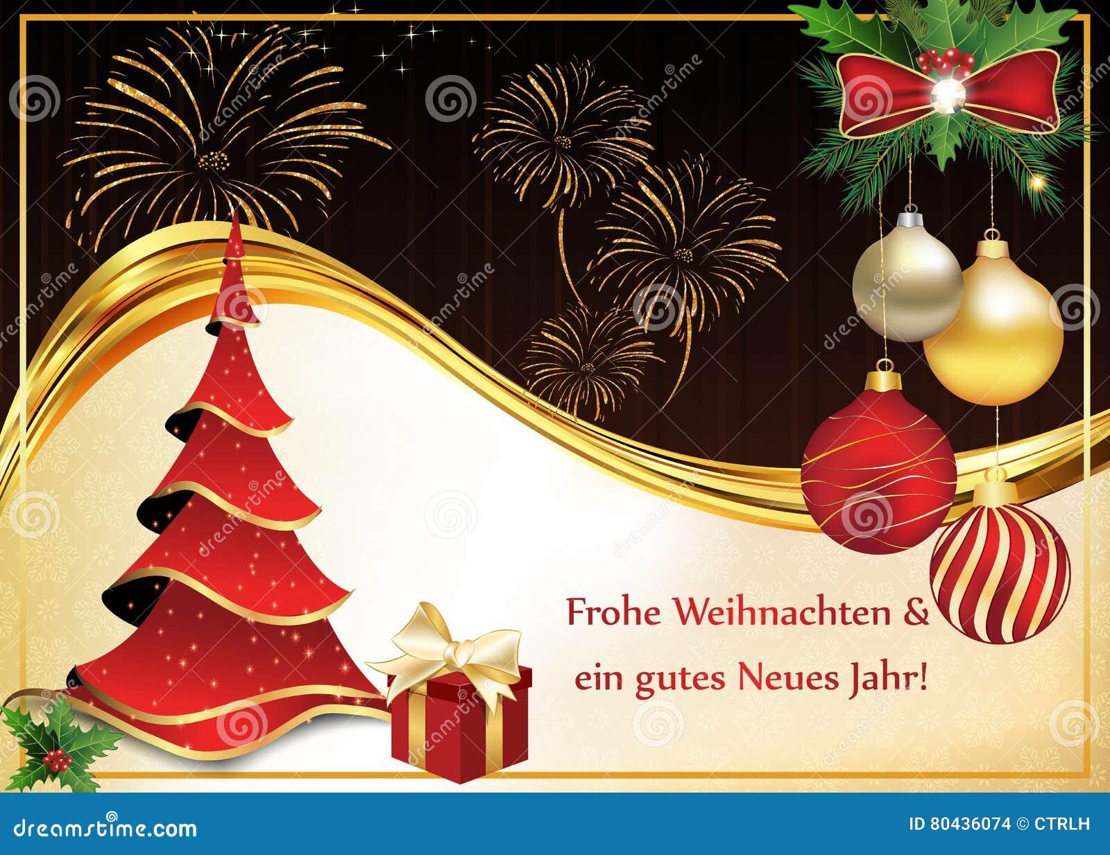 Deutsche Grusskarte Fur Weihnachten Und Neues Jahr Stock