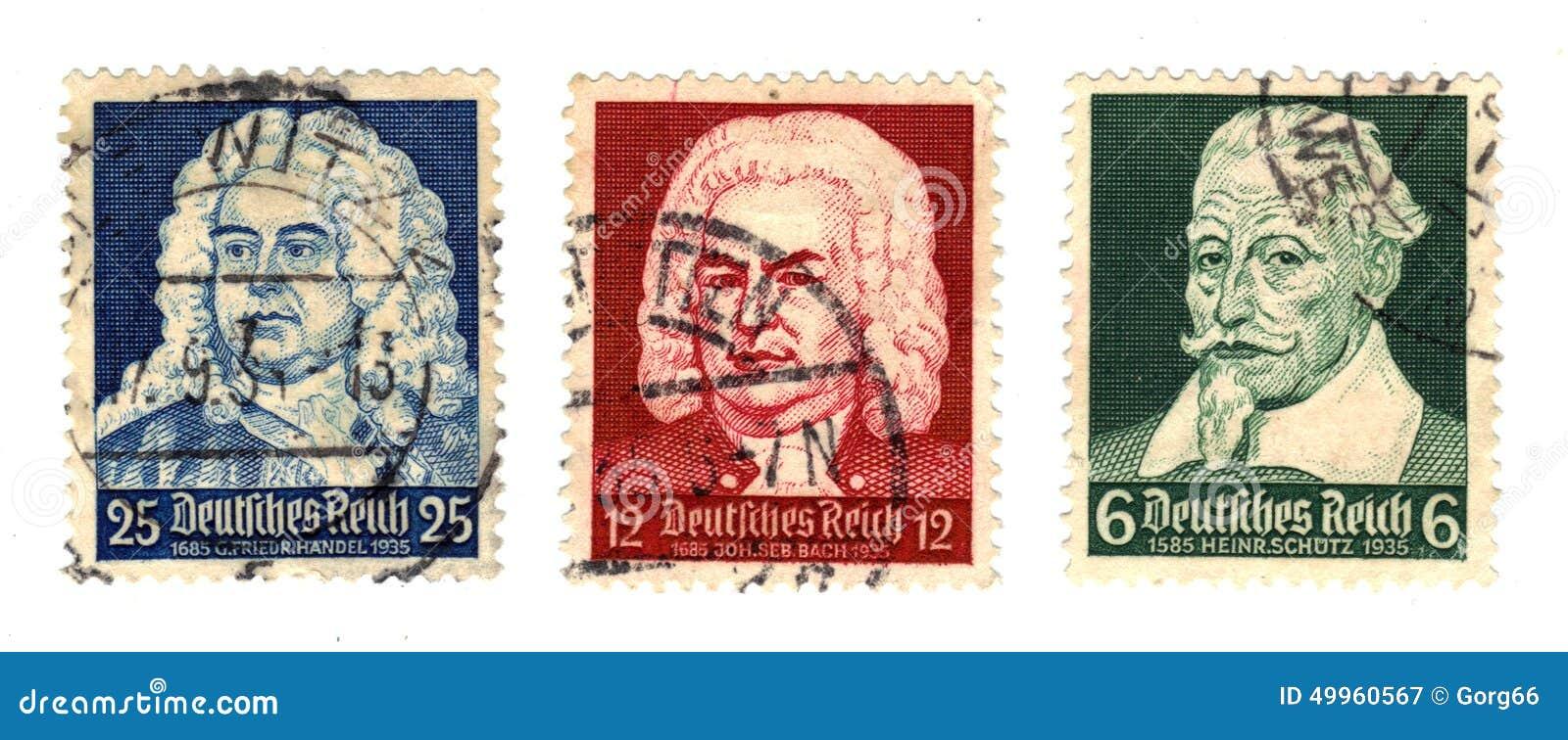 Deutsche Komponisten Auf Der Briefmarke Stockbild Bild Von Stempel