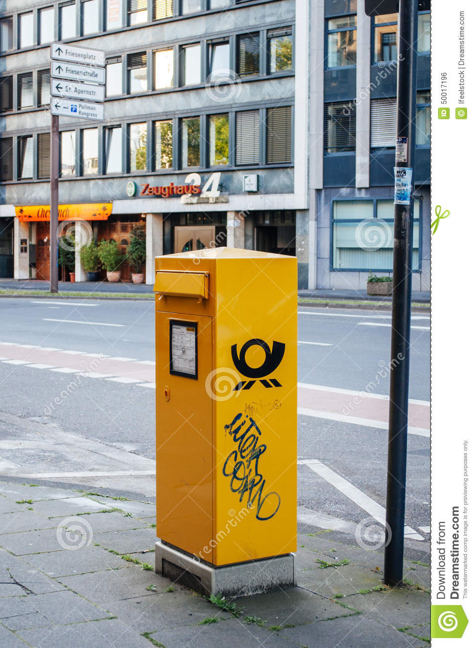 deutsche post dhl mailbox in the city editorial photo image 50017196
