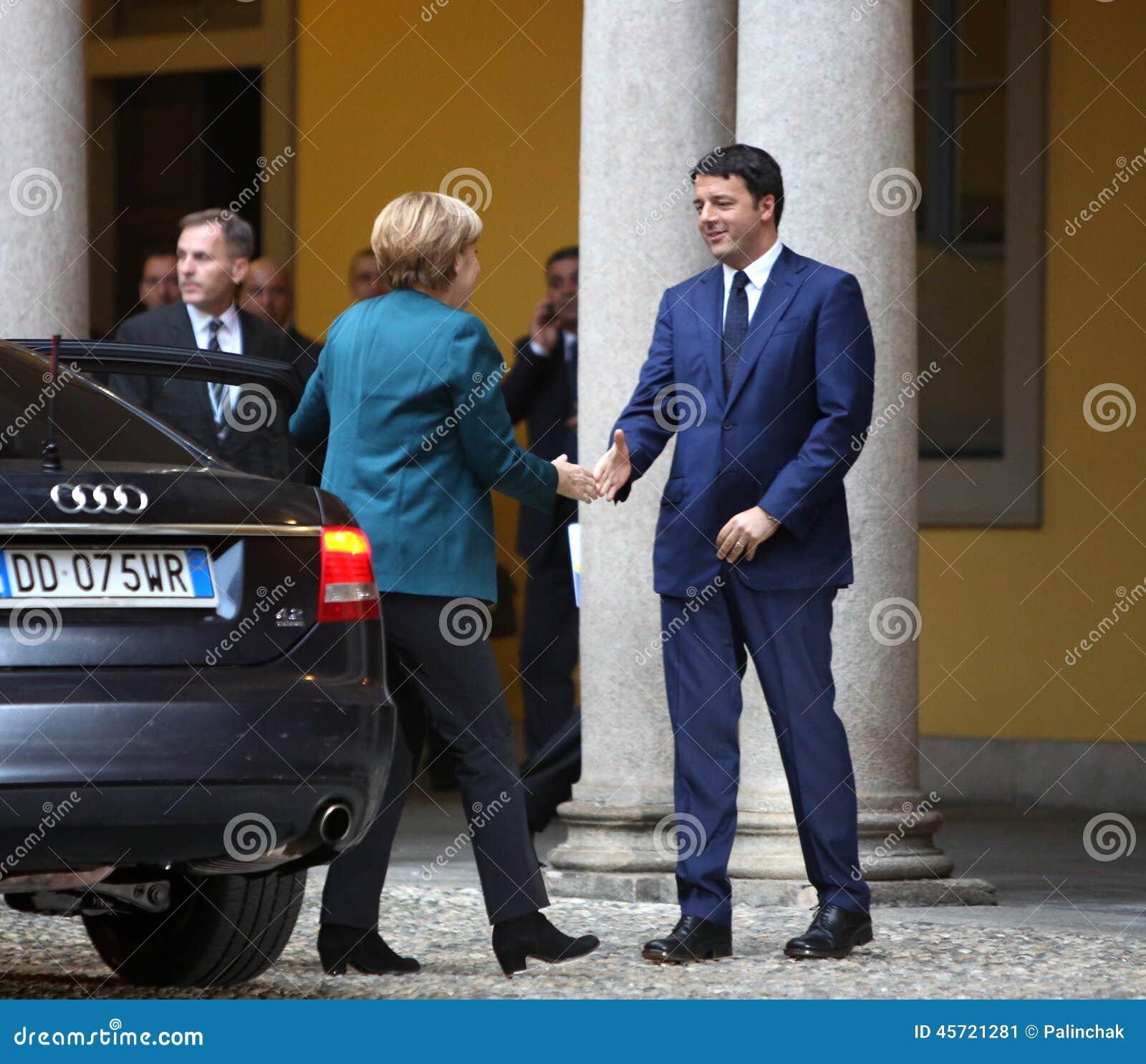 Deutscher Kanzler Angela Merkel und italienischer Premierminister Matte