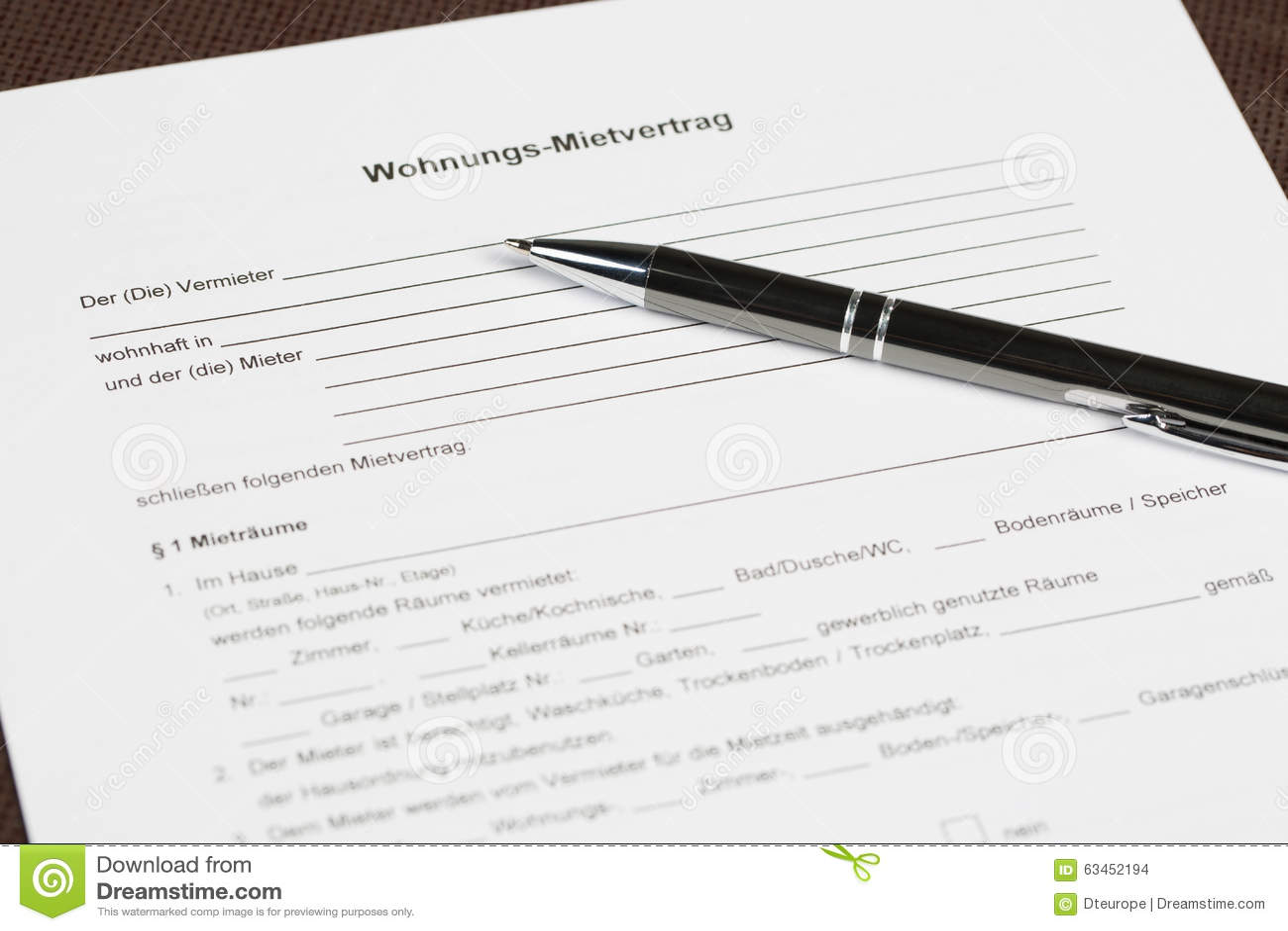 Deutscher Leerer Mietvertrag Stockfoto - Bild von leerzeichen ...