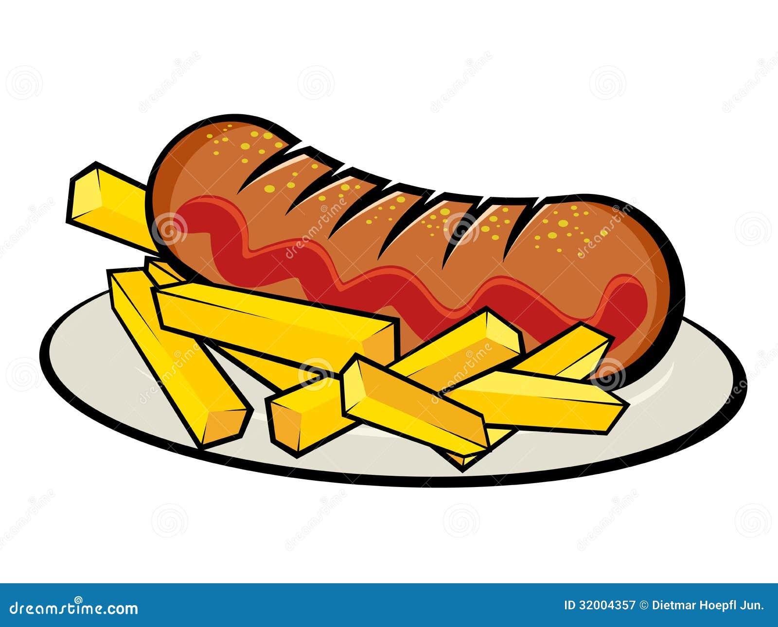 Deutsches Currywurst Mit Pommes-Frites Lizenzfreie Stockfotografie - Bild: 32004357