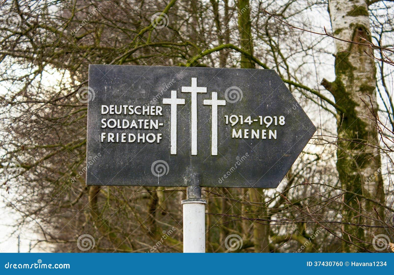 Deutsches Kirchhof friedhof auf Flandern-Gebieten menen Belgien