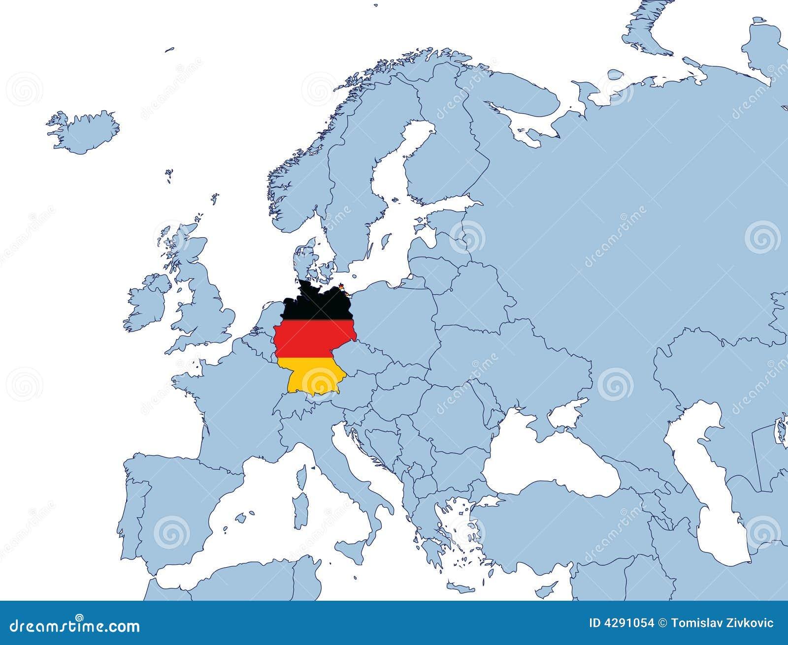 deutschland auf europa karte stockbilder bild 4291054. Black Bedroom Furniture Sets. Home Design Ideas
