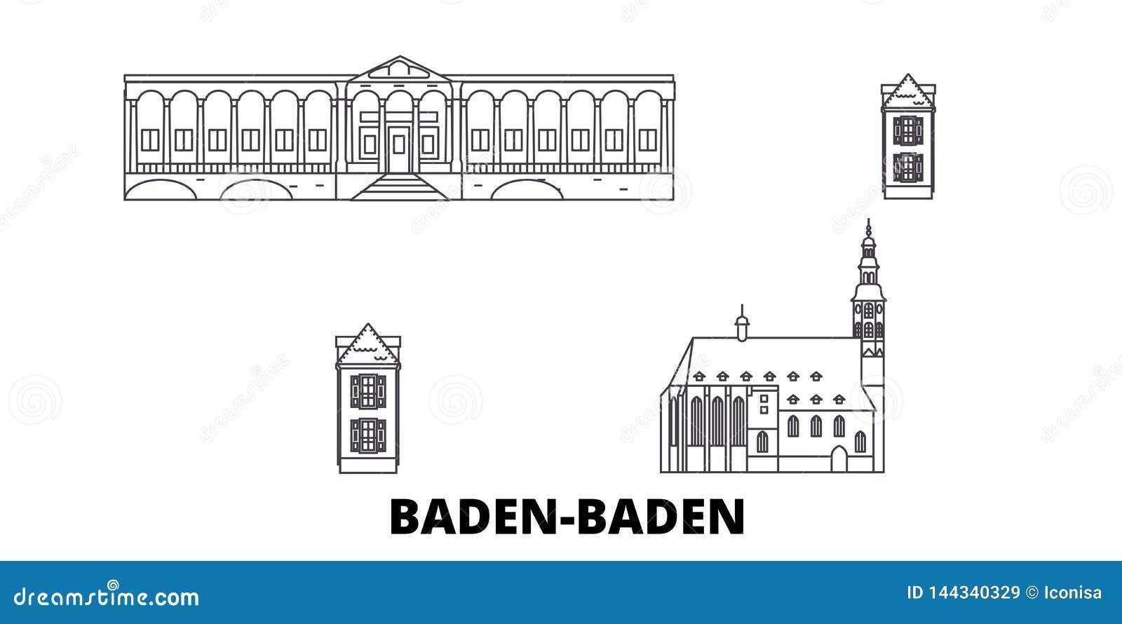 Deutschland, Baden Baden-Linie Reiseskylinesatz Deutschland, Baden Baden-Entwurfsstadt-Vektorillustration, Symbol, Reise