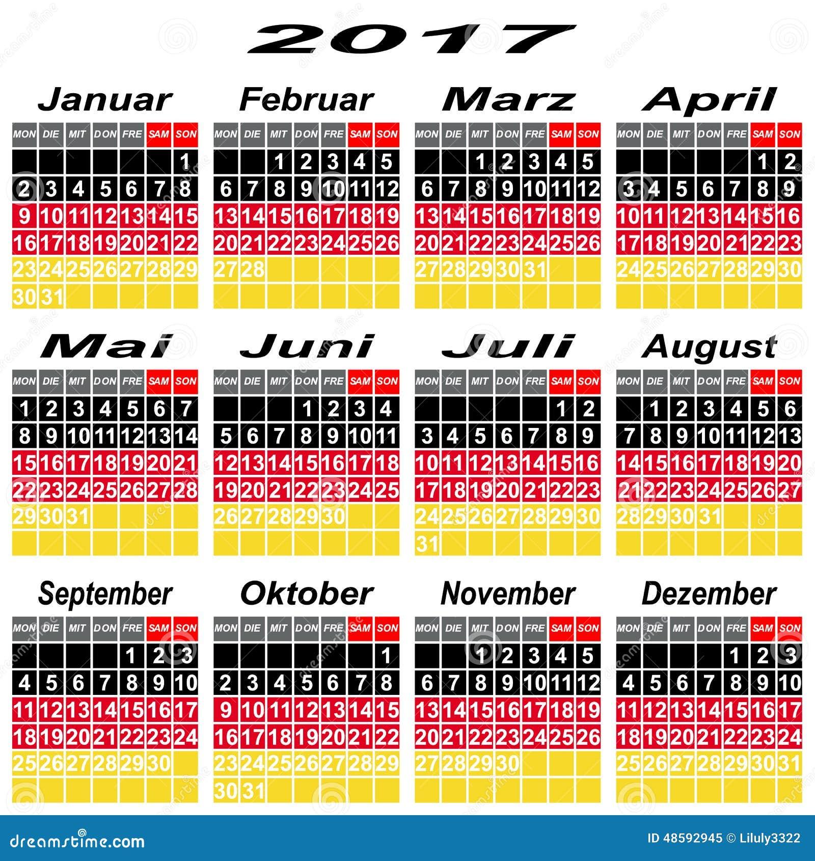 deutschland kalender von 2017 vektor abbildung bild. Black Bedroom Furniture Sets. Home Design Ideas