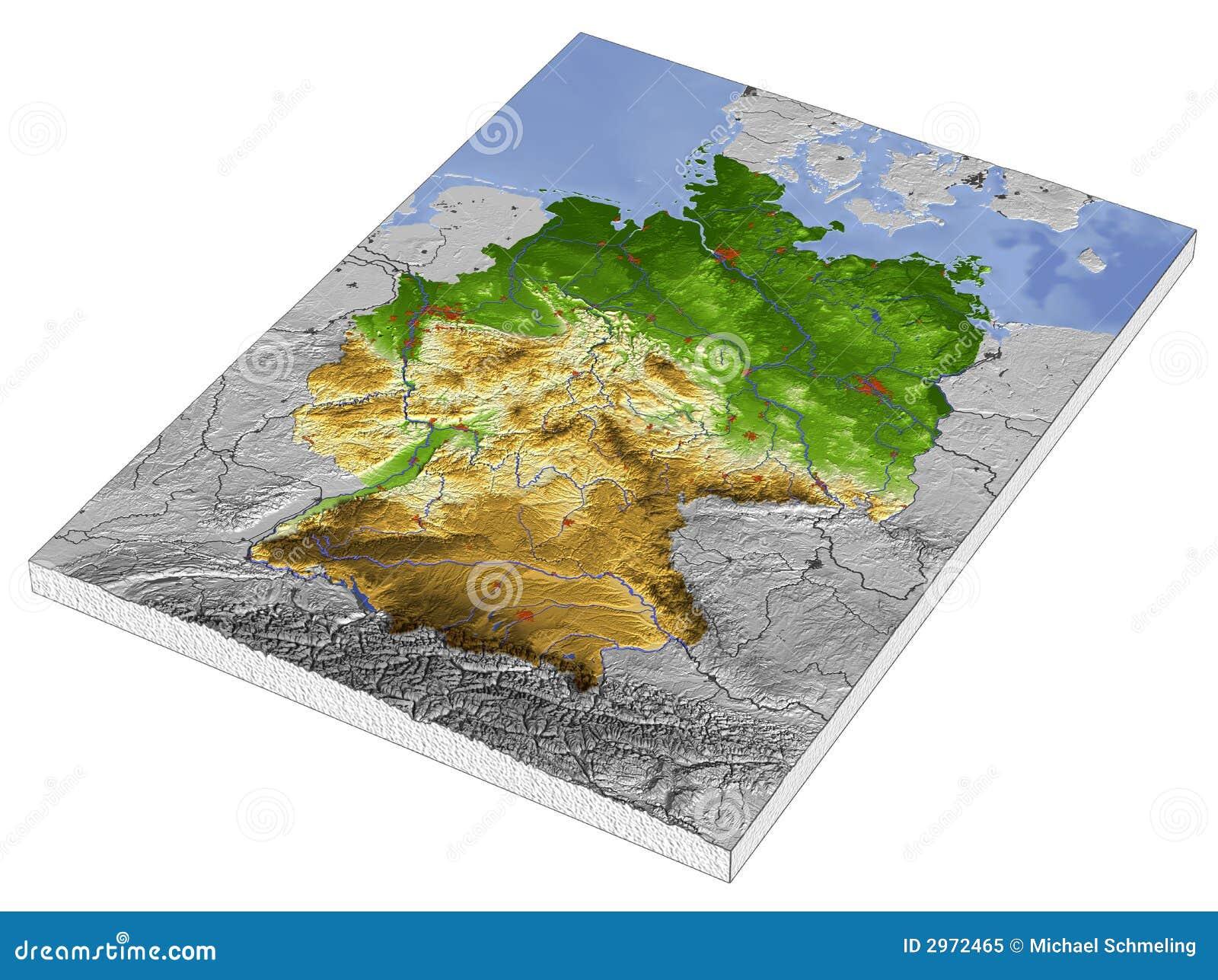 3d karte deutschland Deutschland, Karte Der Entlastung 3D Stock Abbildung