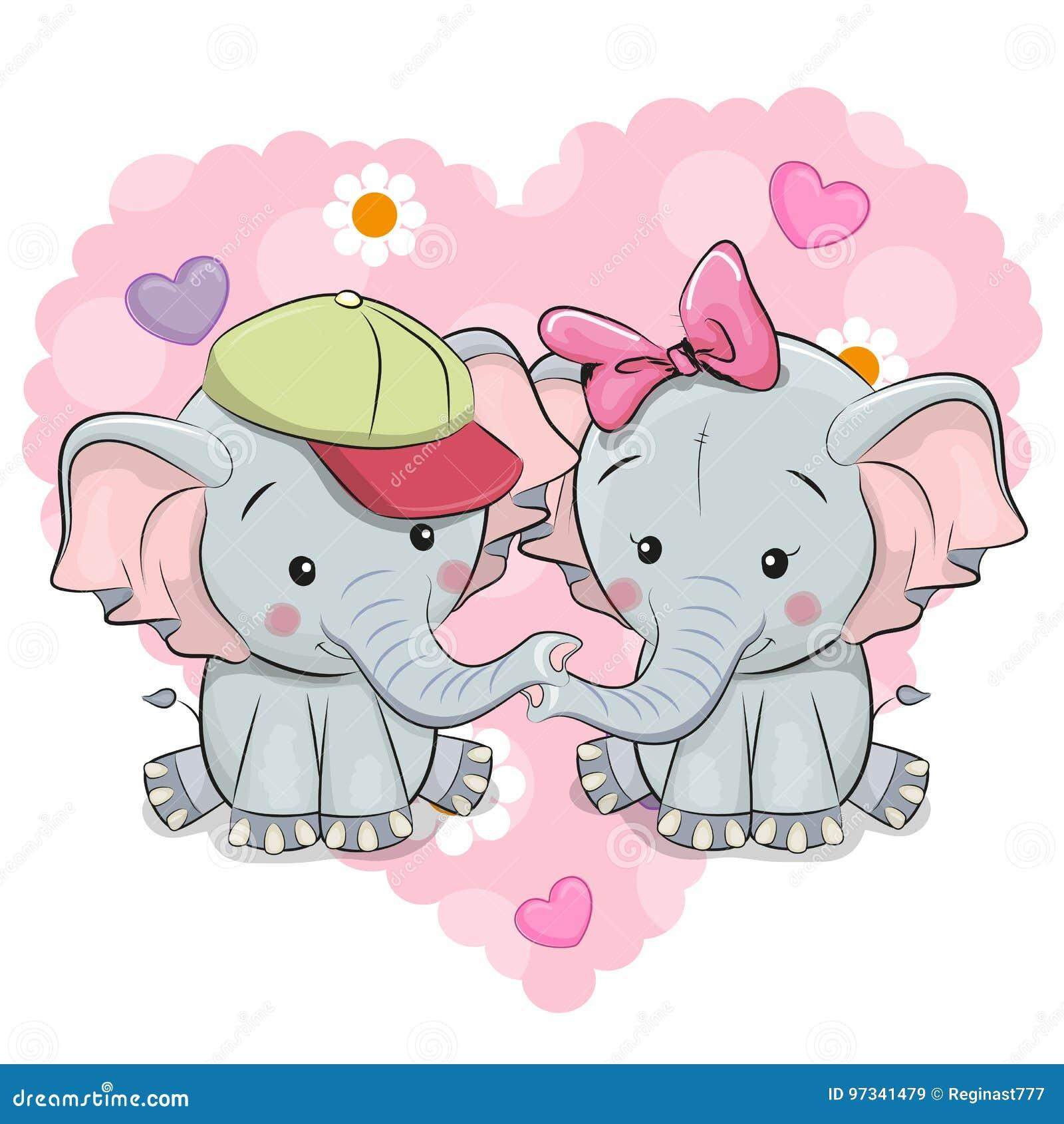 Deux éléphants mignons de bande dessinée
