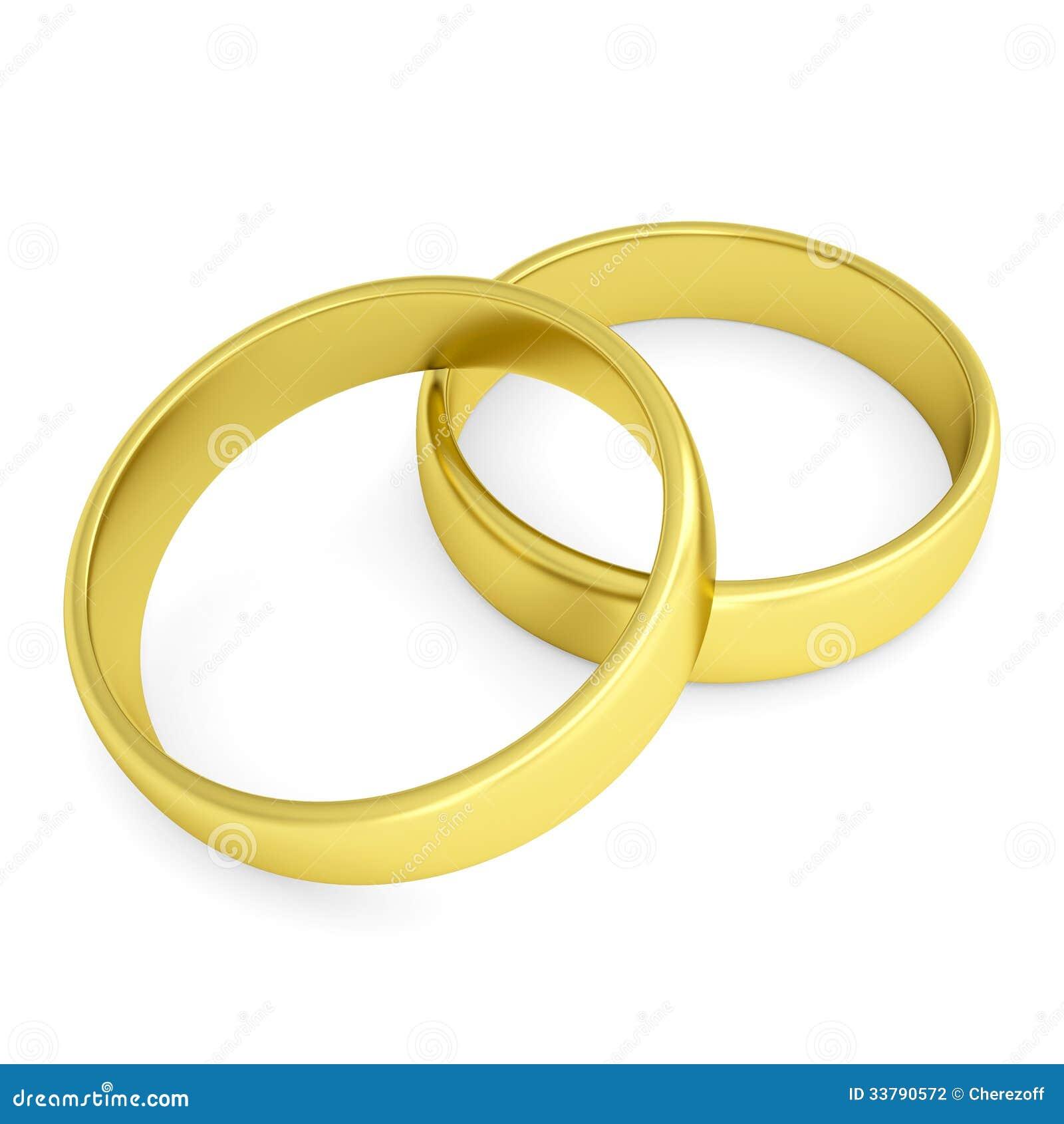 Deux anneaux de mariage dor. Disolement rendez sur un fond blanc.