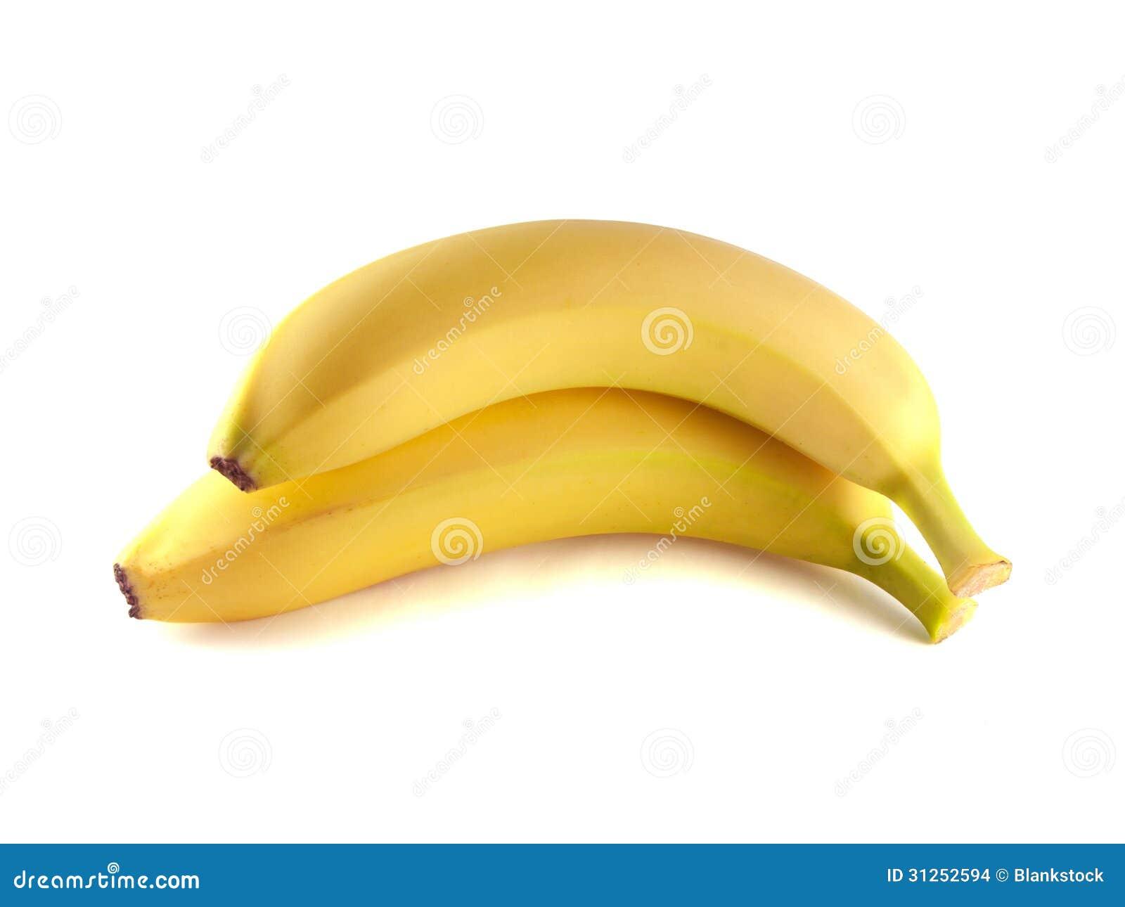 Deux bananes d isolement sur le fond blanc (mûr).