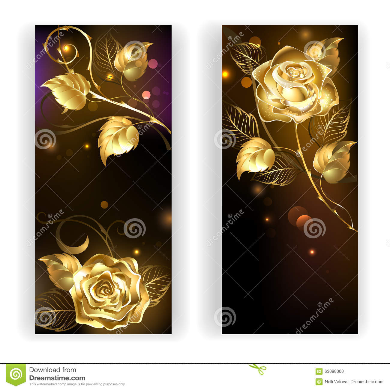 Download Deux Bannières Avec Des Roses D'or Illustration de Vecteur - Illustration du vacances, ordinateur: 63088000