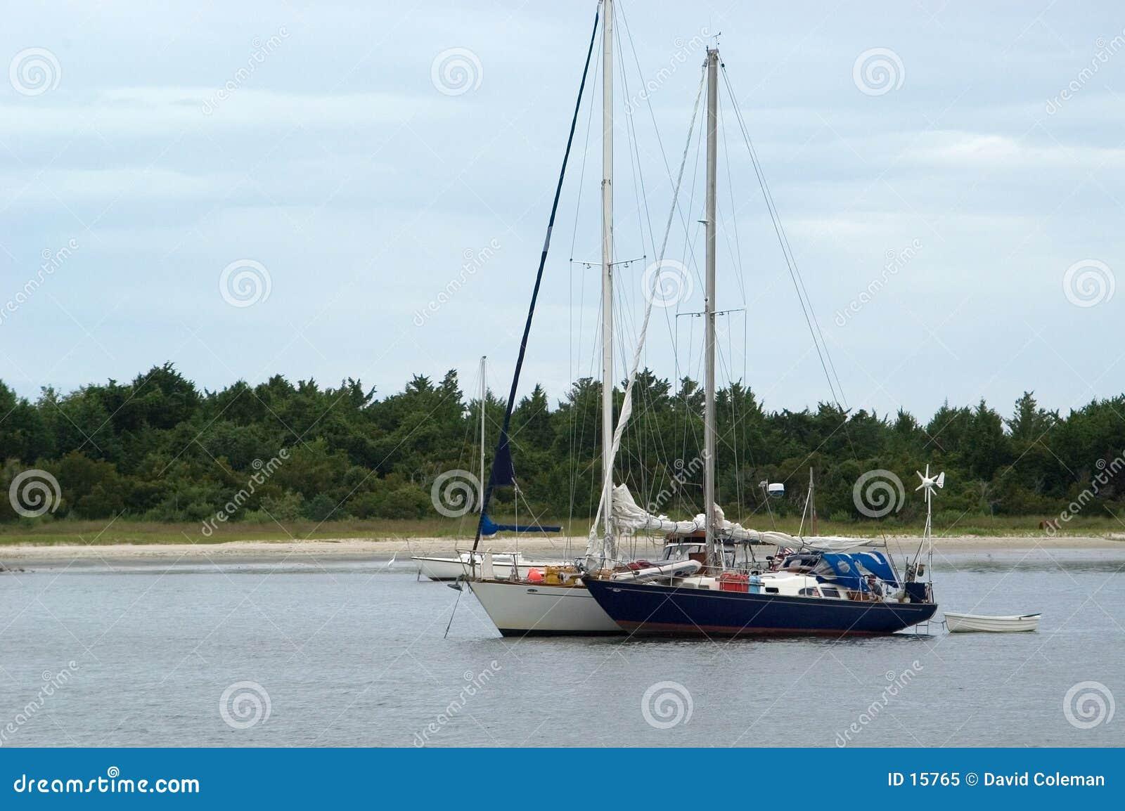 Deux bateaux à voiles, vue de face