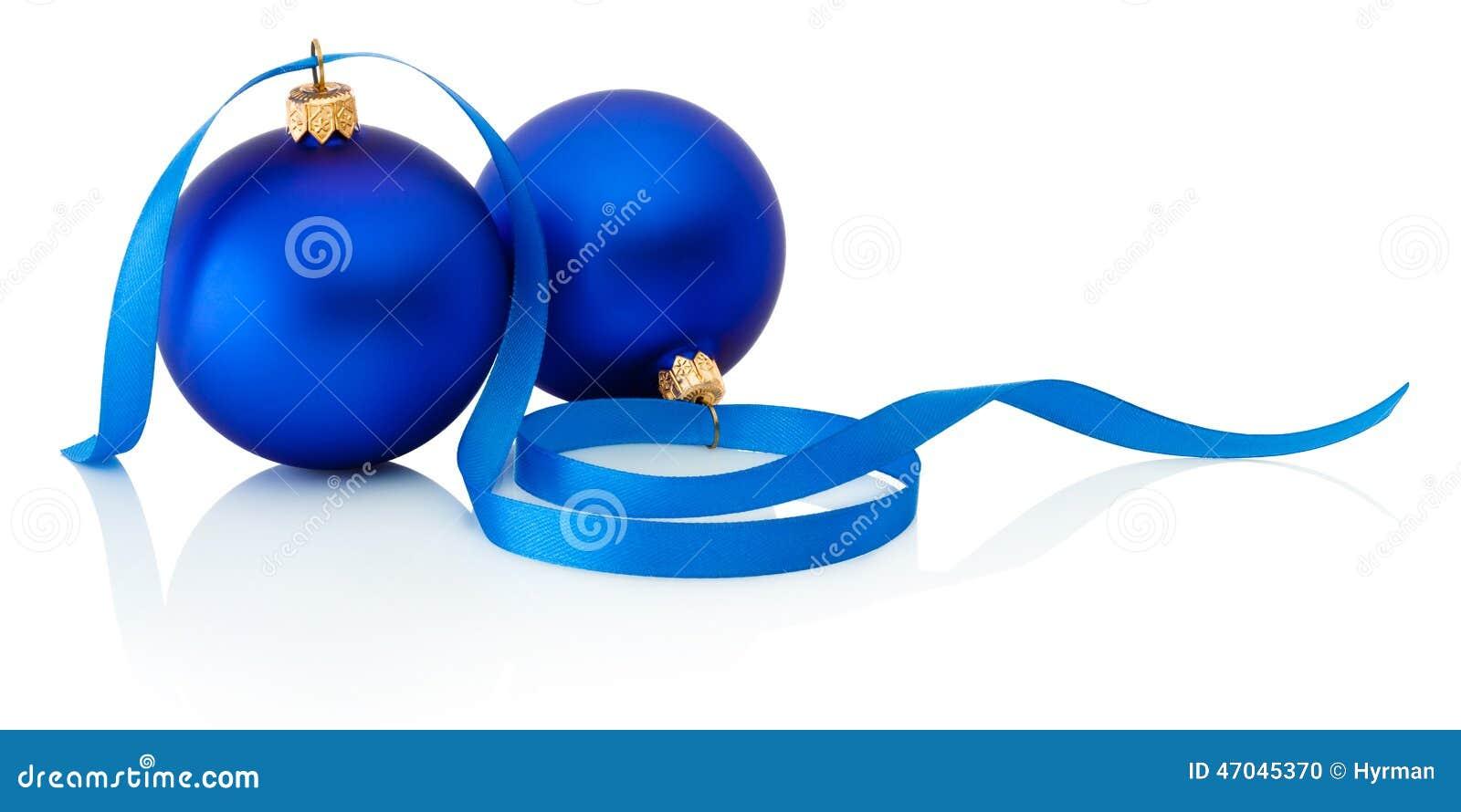Deux Boules Et Rubans Bleus De No L D 39 Isolement Sur Le Fond Blanc Photo Stock Image 47045370