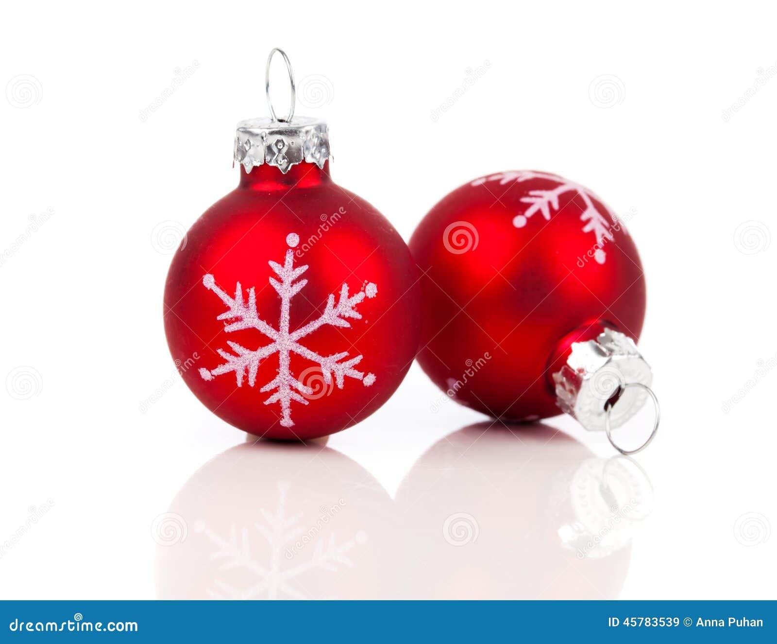 Deux boules rouges de d coration de no l photo stock for Decoration boule de noel