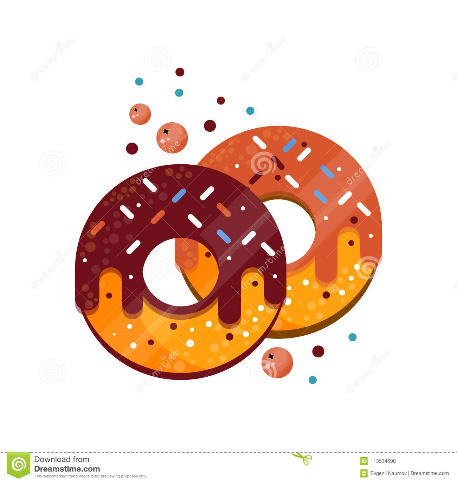 Deux butées toriques avec coloré lustre arrose, de caramels et de chocolat Dessert délicieux et doux Nourriture pour le petit déj