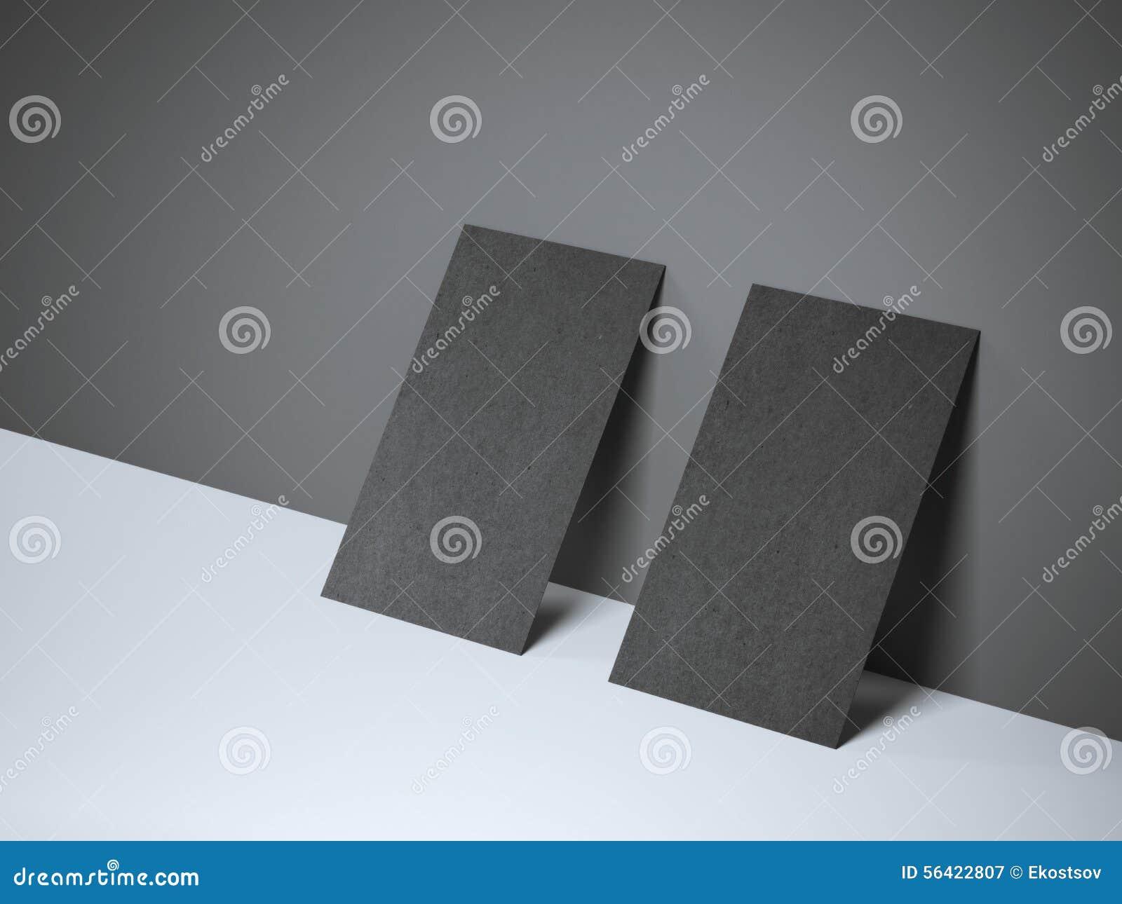 Deux cartes de visite professionnelle vierges noires de visite