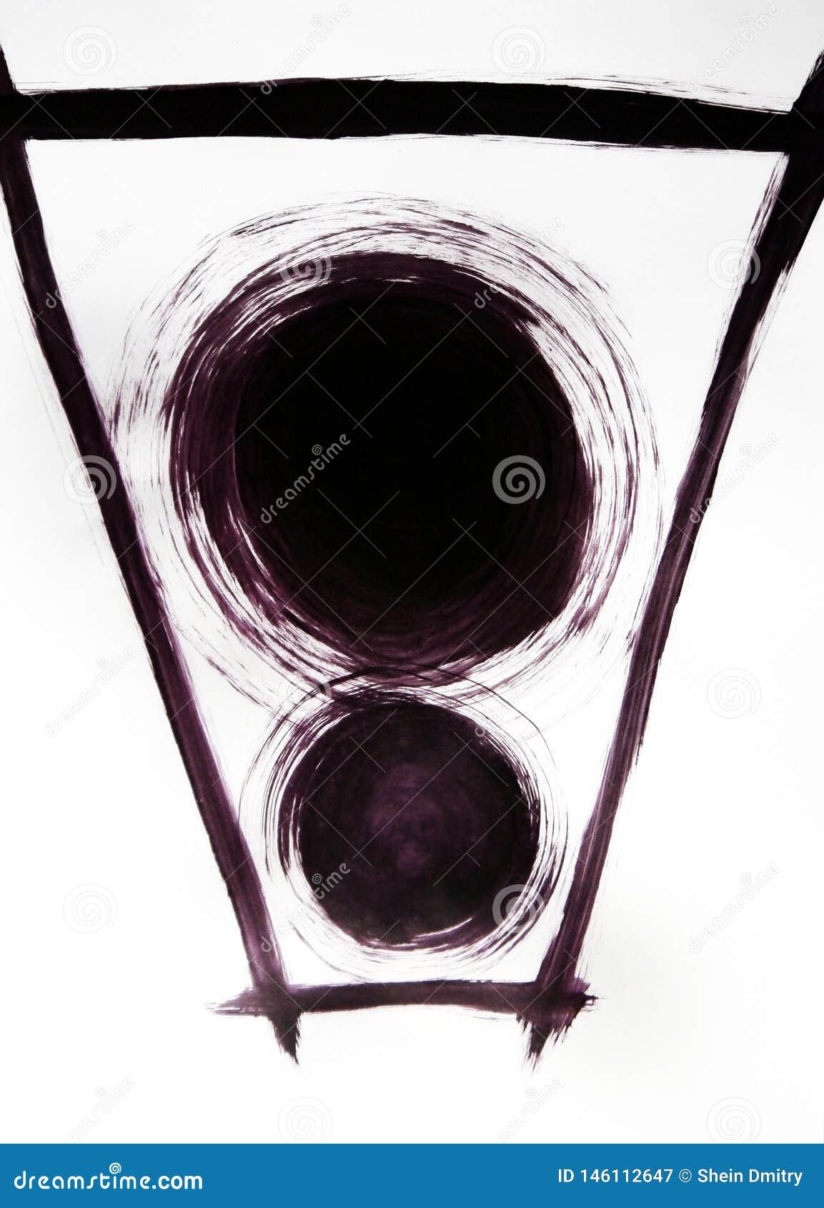 Deux cercles de diamètre différent et autour de la ligne tracée