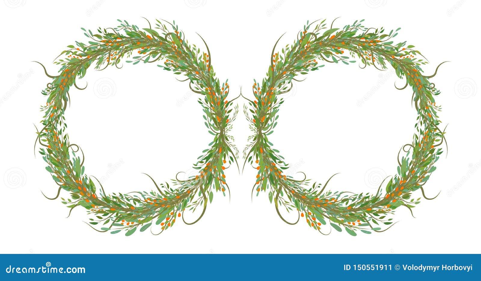 Deux cercles des fleurs avec des feuilles