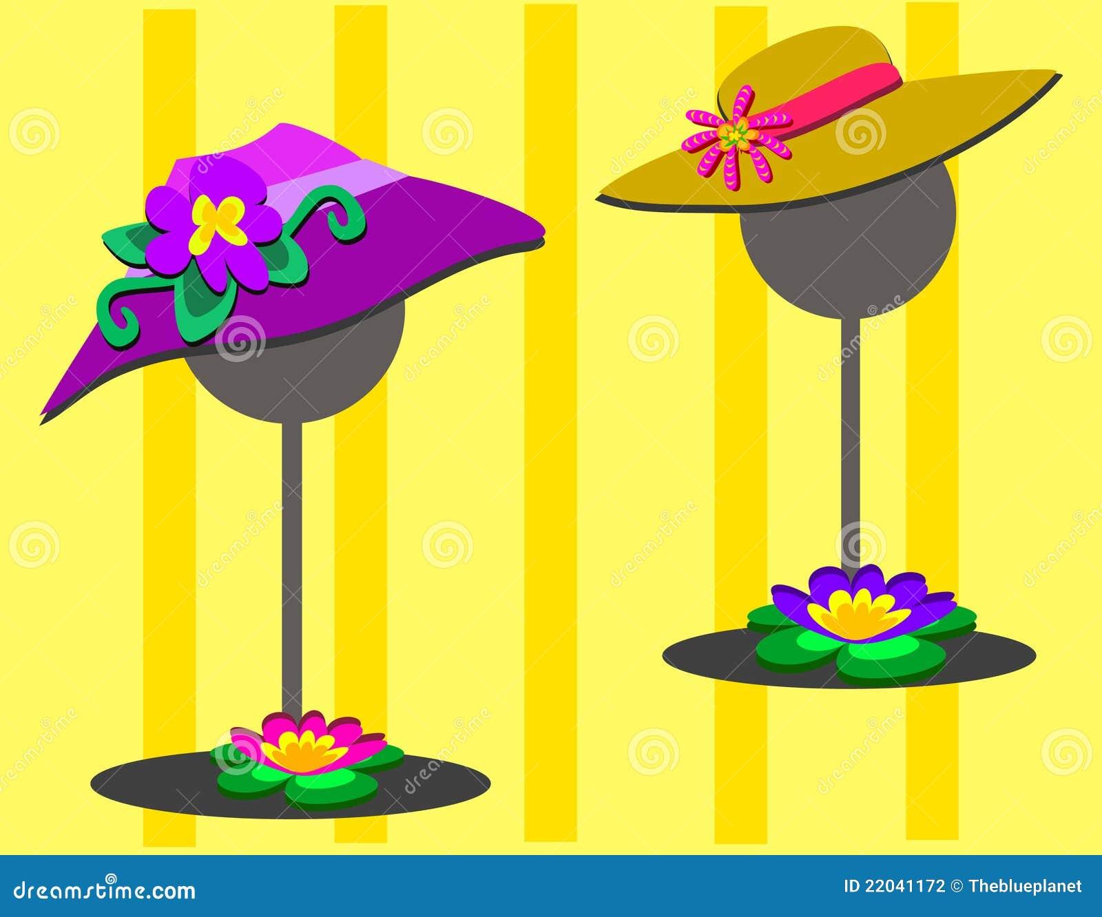 Deux chapeaux sur des stands