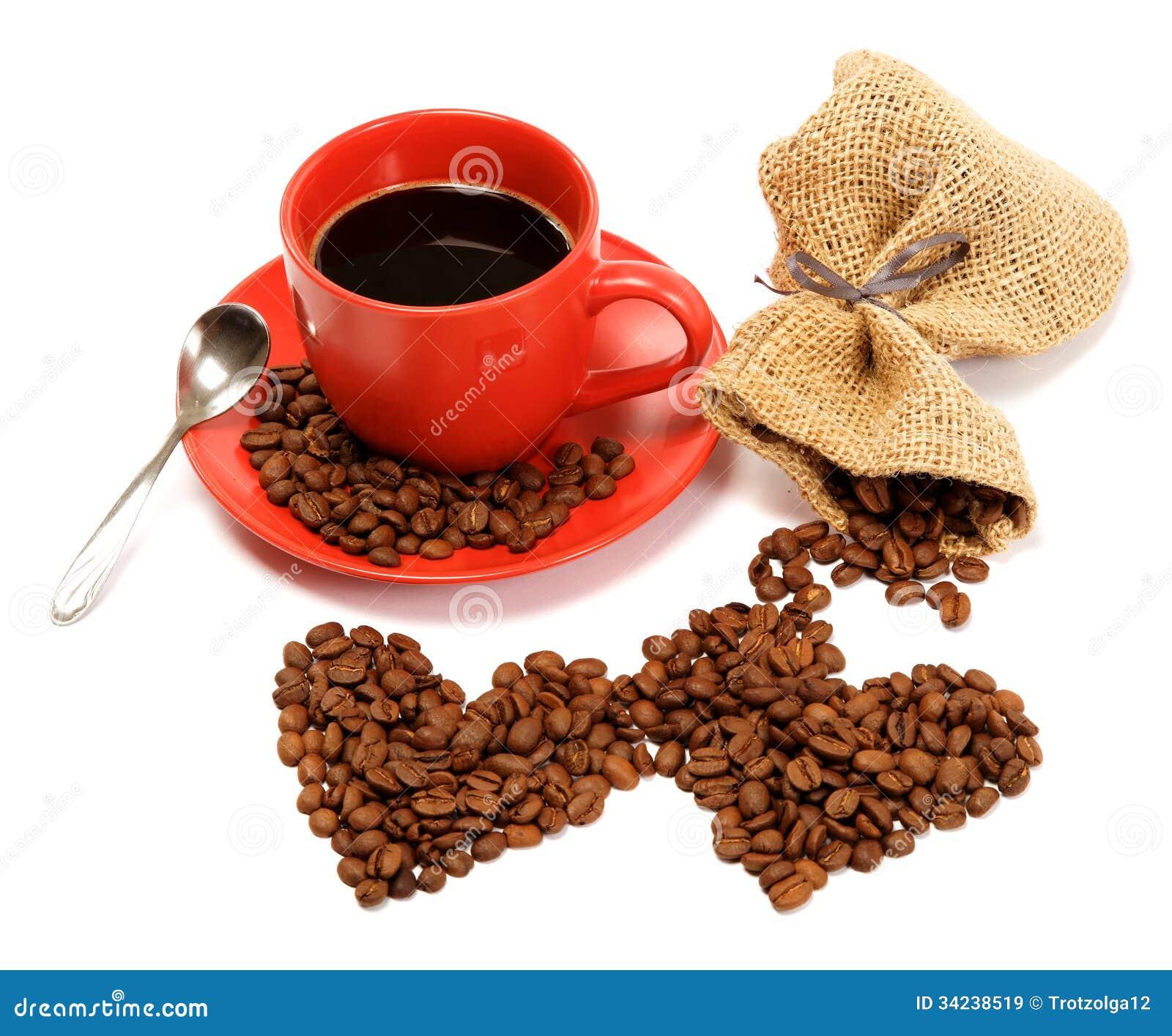 deux coeurs faits partir des grains de caf autour d 39 une tasse de caf images libres de. Black Bedroom Furniture Sets. Home Design Ideas