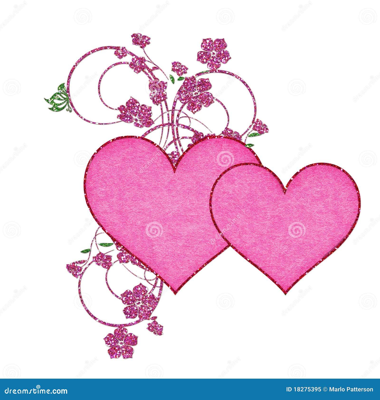 Deux coeurs roses avec des fleurs de scintillement photo libre de droits im - Coeur avec des fleurs ...