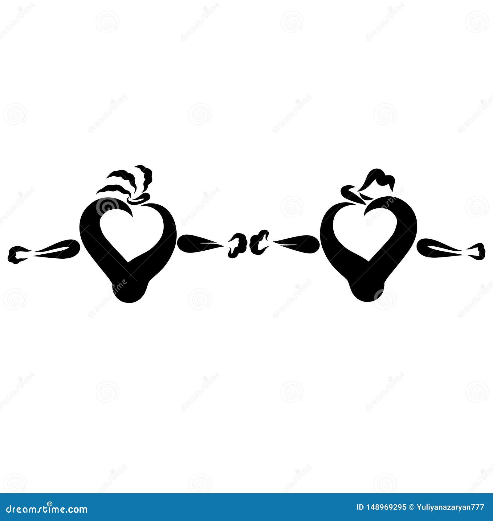 Deux coeurs se tiennent lui et elle