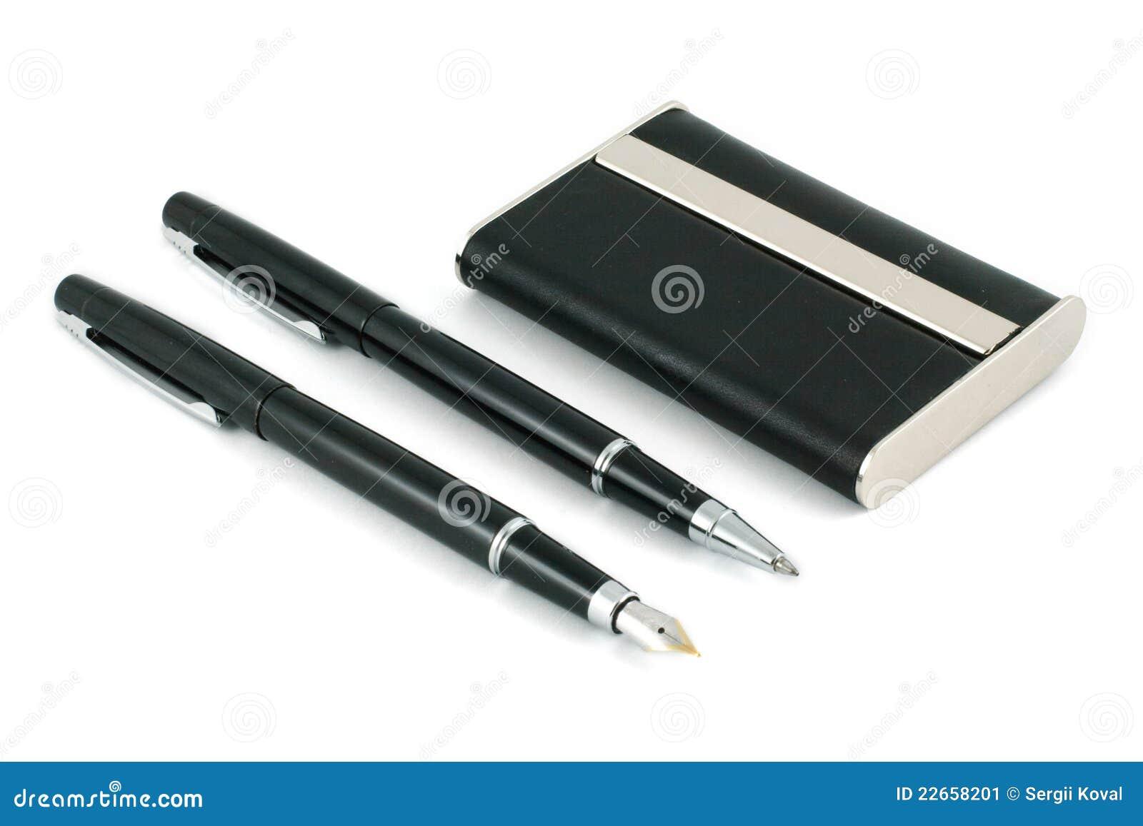 Deux Crayons Lecteurs Et Cartes De Visite Noirs