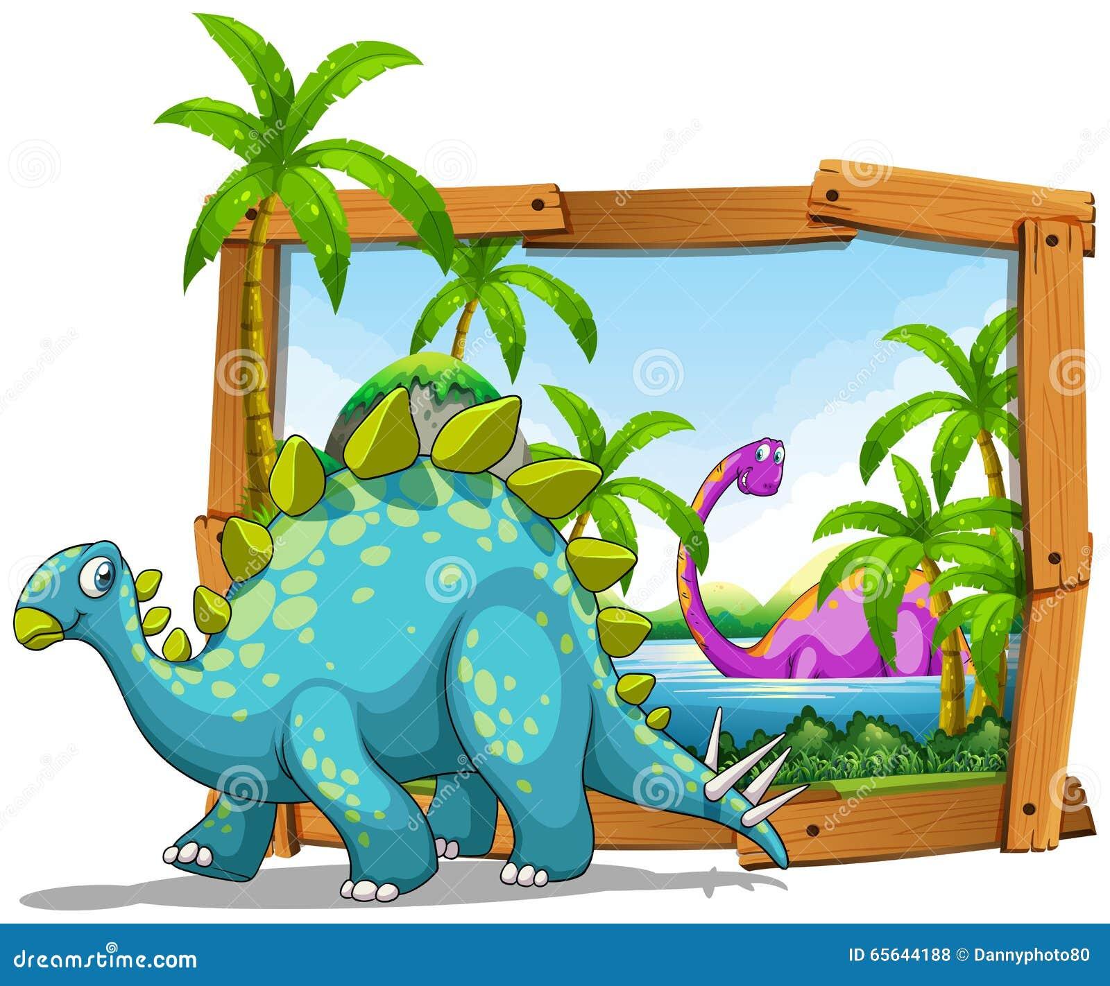 Deux dinosaures dans le cadre en bois