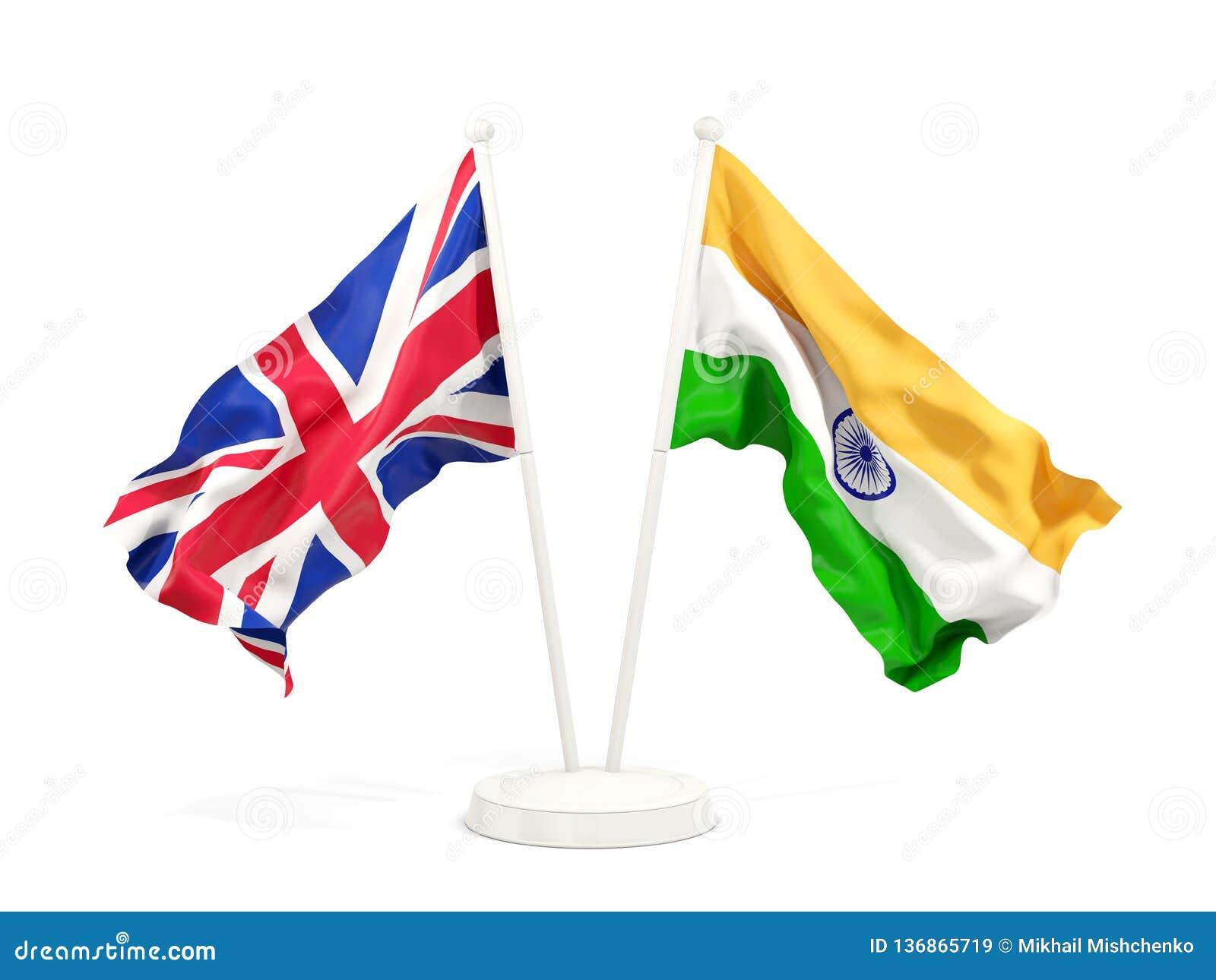 Deux drapeaux de ondulation du R-U et de l Inde