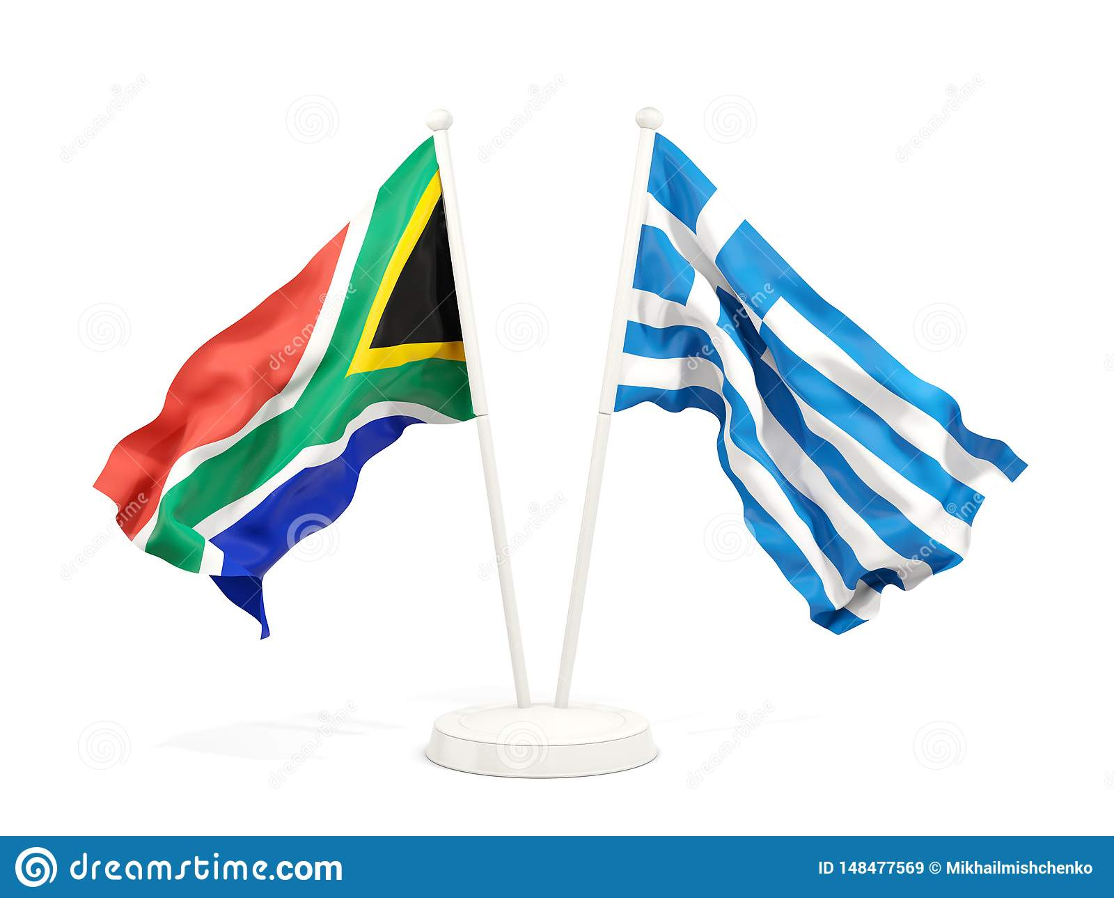 Deux drapeaux de ondulation de l Afrique du Sud et de la Gr?ce d isolement sur le blanc