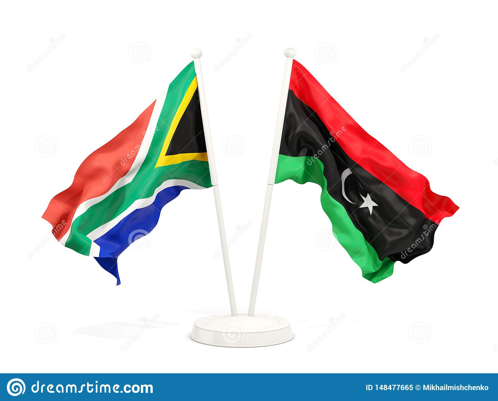 Deux drapeaux de ondulation de l Afrique du Sud et de la Libye d isolement sur le blanc