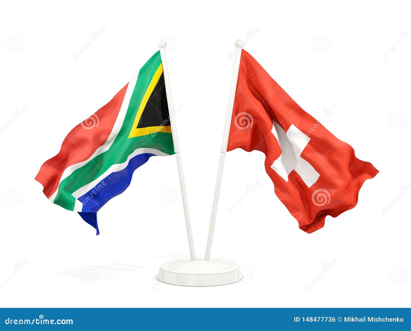Deux drapeaux de ondulation de l Afrique du Sud et de la Suisse d isolement sur le blanc