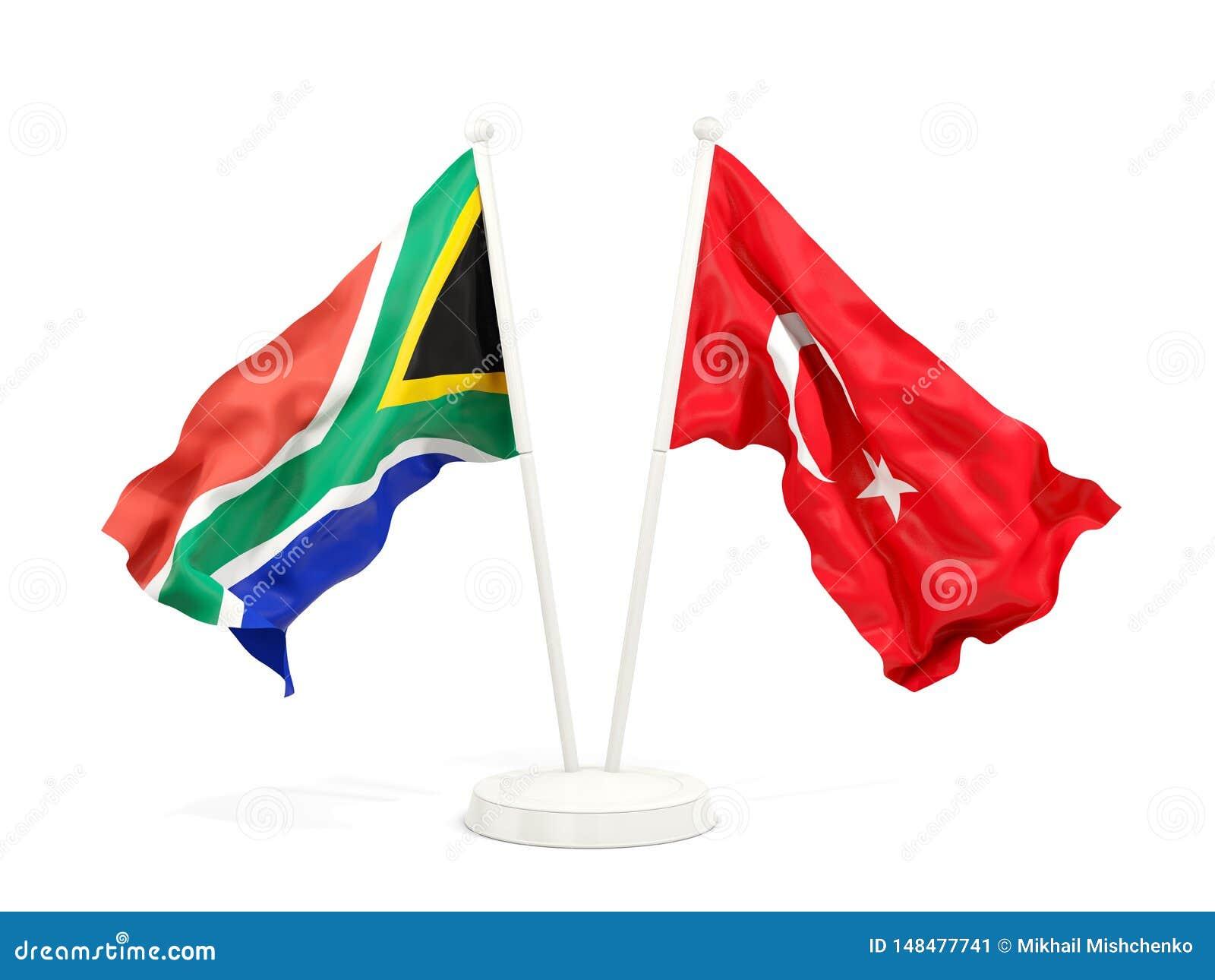 Deux drapeaux de ondulation de l Afrique du Sud et de la Turquie d isolement sur le blanc