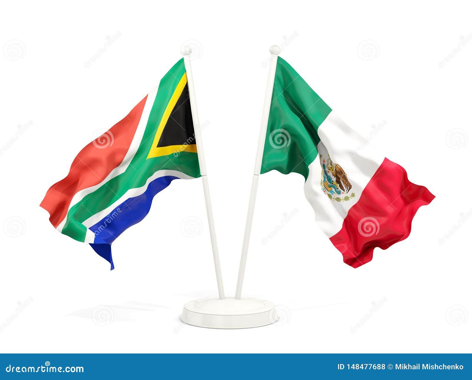 Deux drapeaux de ondulation de l Afrique du Sud et du Mexique d isolement sur le blanc